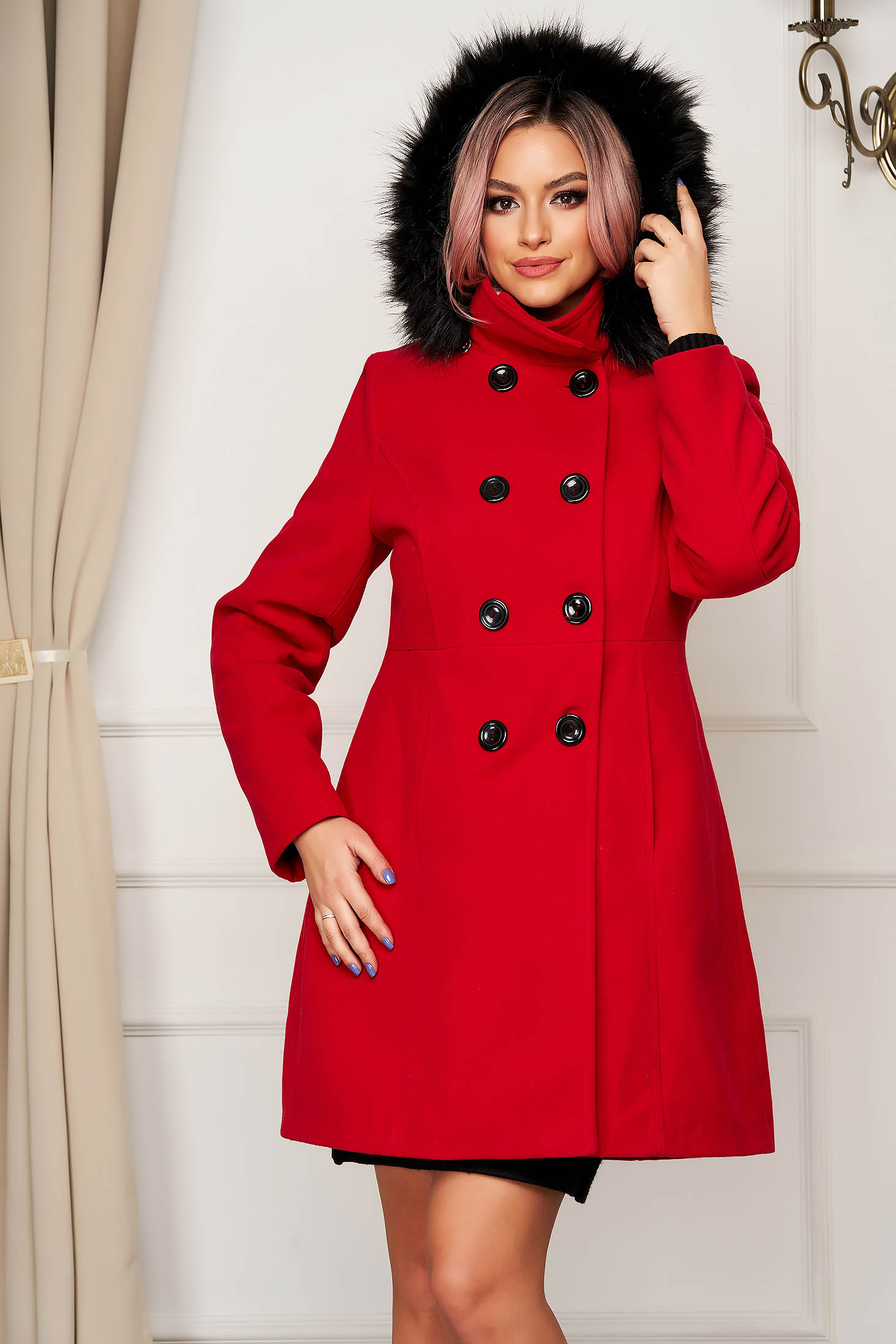Red coat elegant short cut straight wool the jacket has hood and pockets