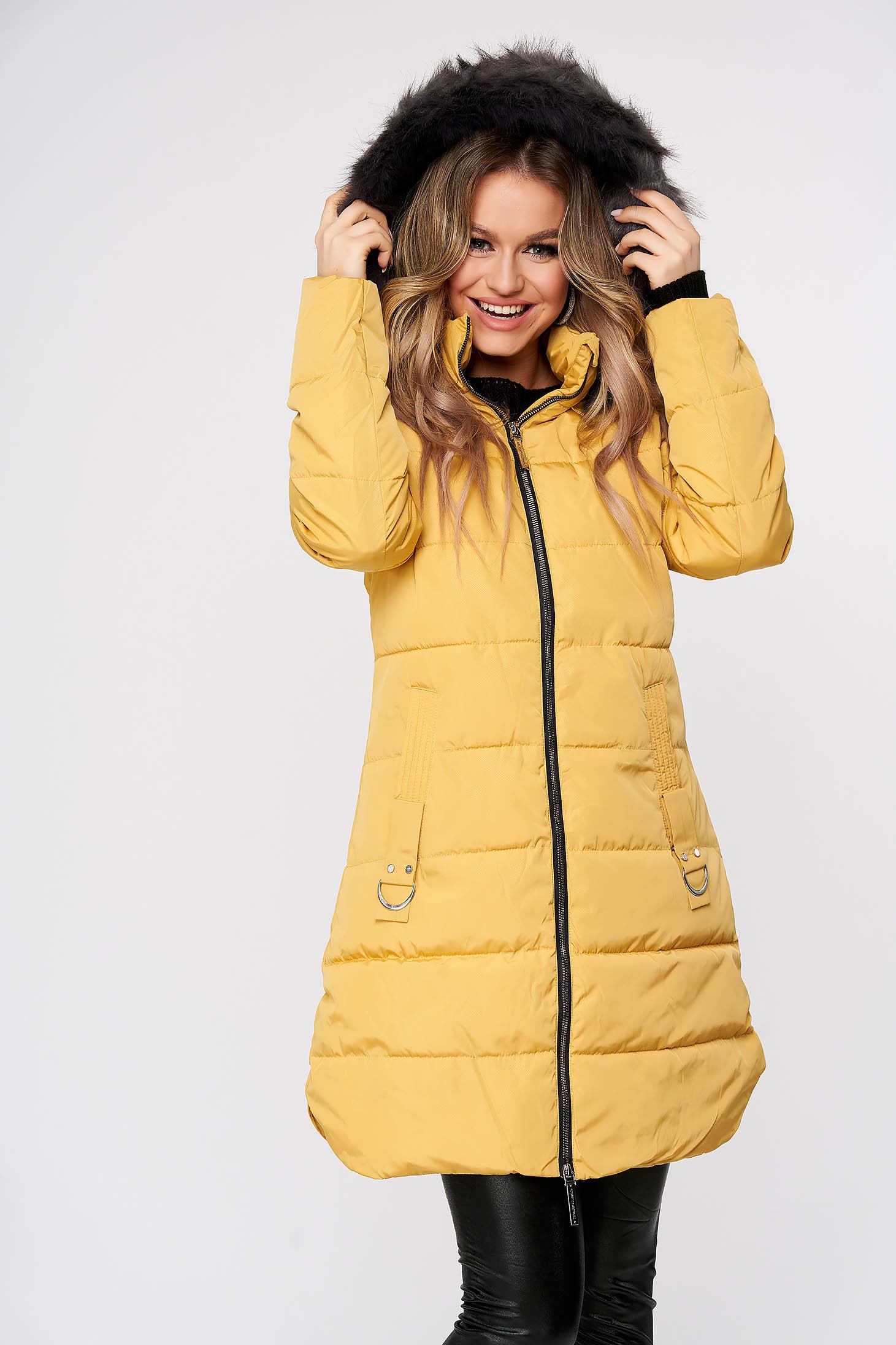 Yellow jacket casual midi from slicker the jacket has hood and pockets