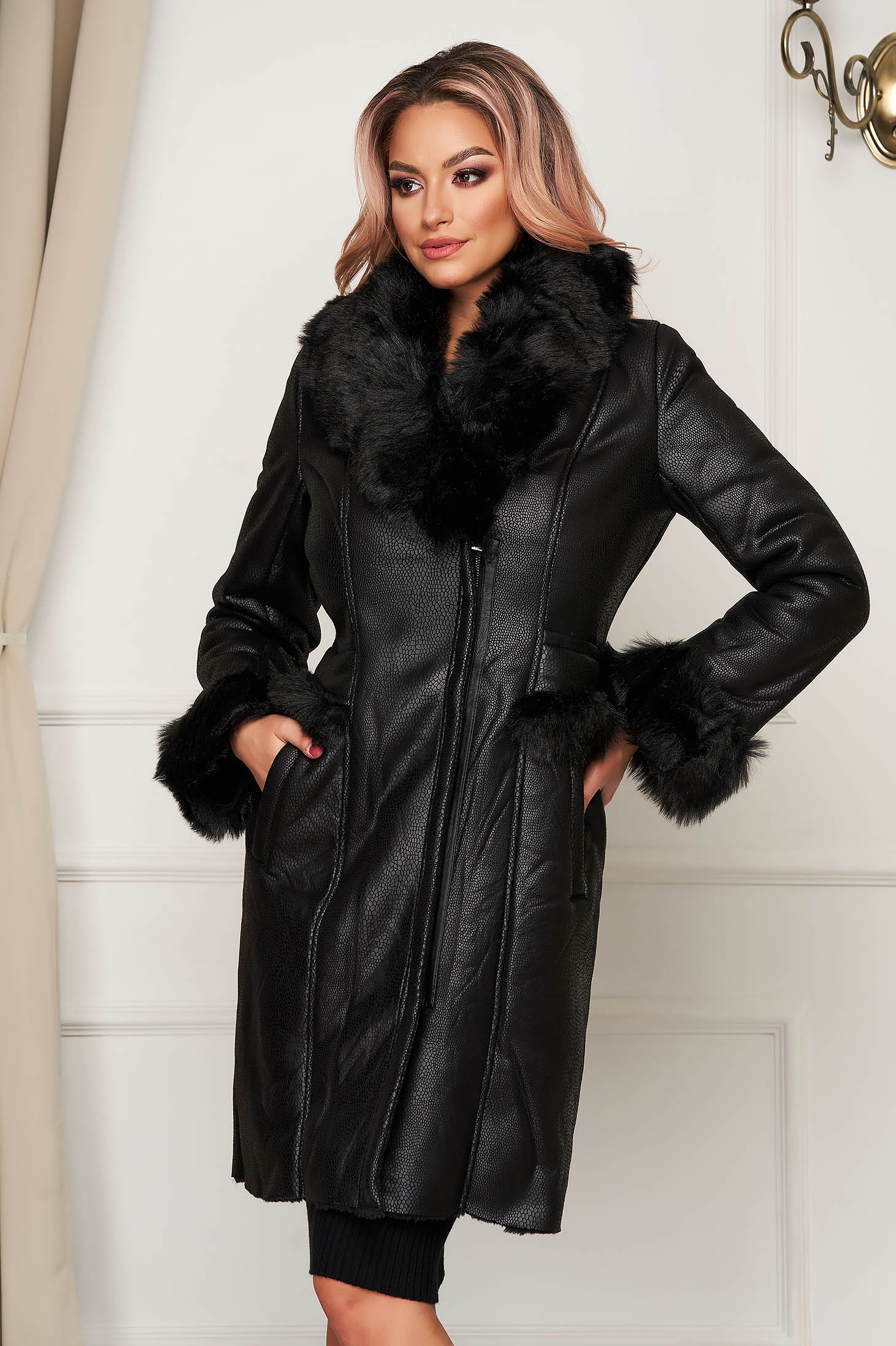 Black jacket casual midi from ecological leather with faux fur details