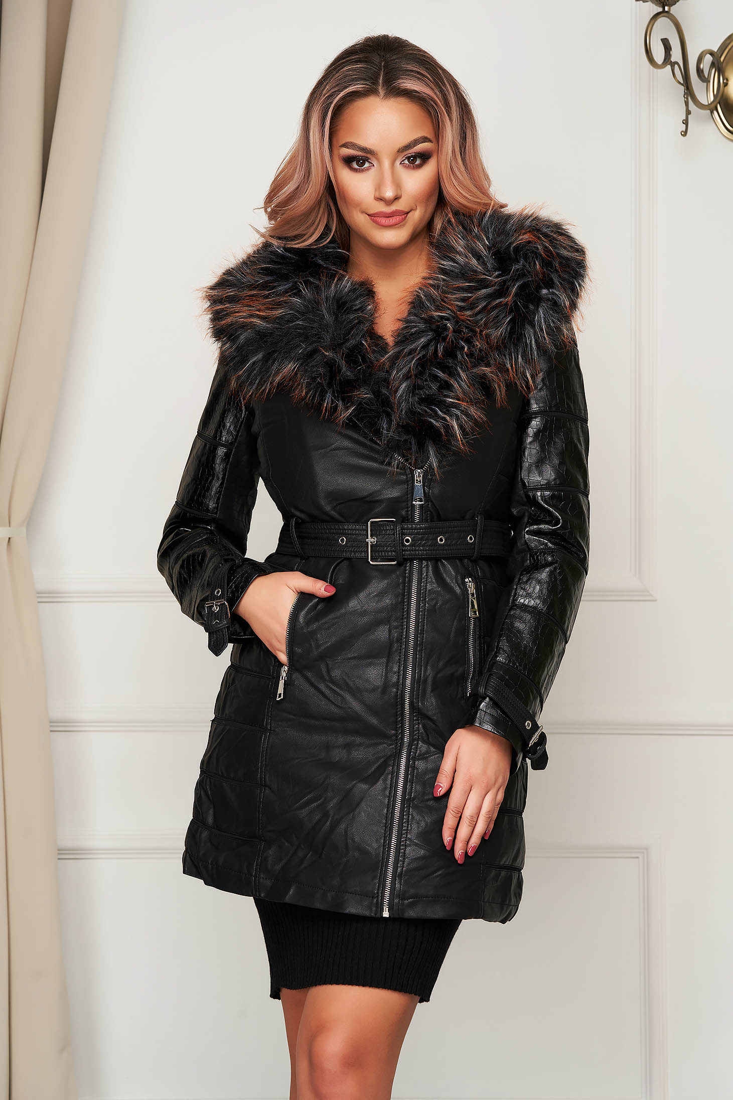 Black jacket midi from ecological leather flaring cut fur collar