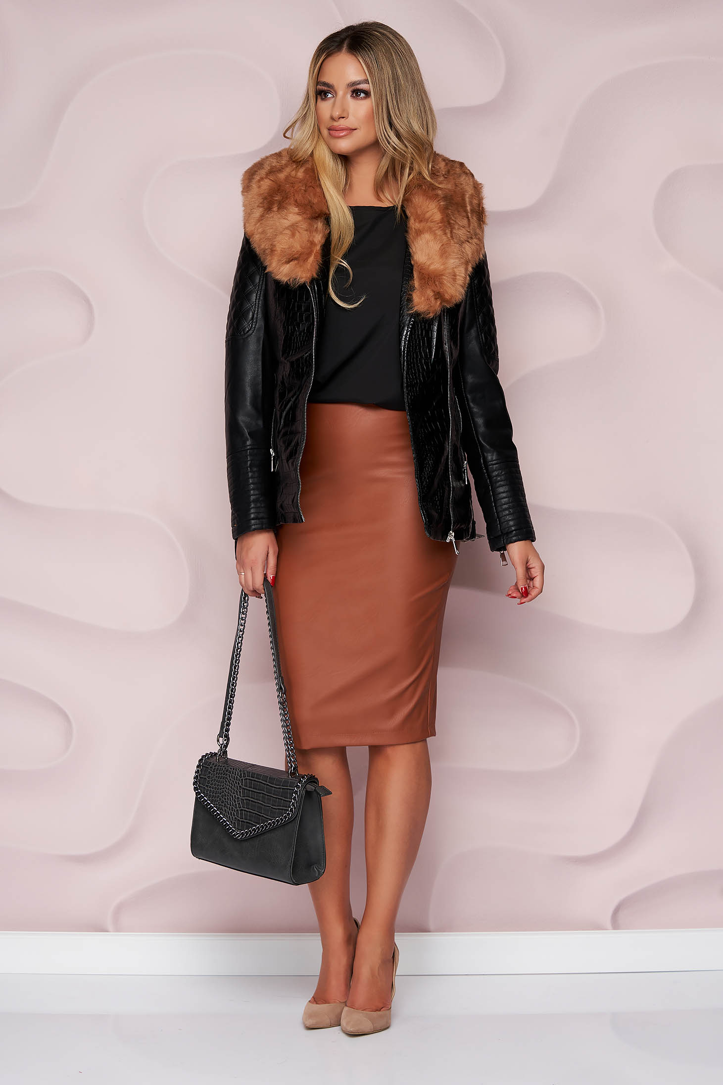 Black jacket from ecological leather from ecological fur