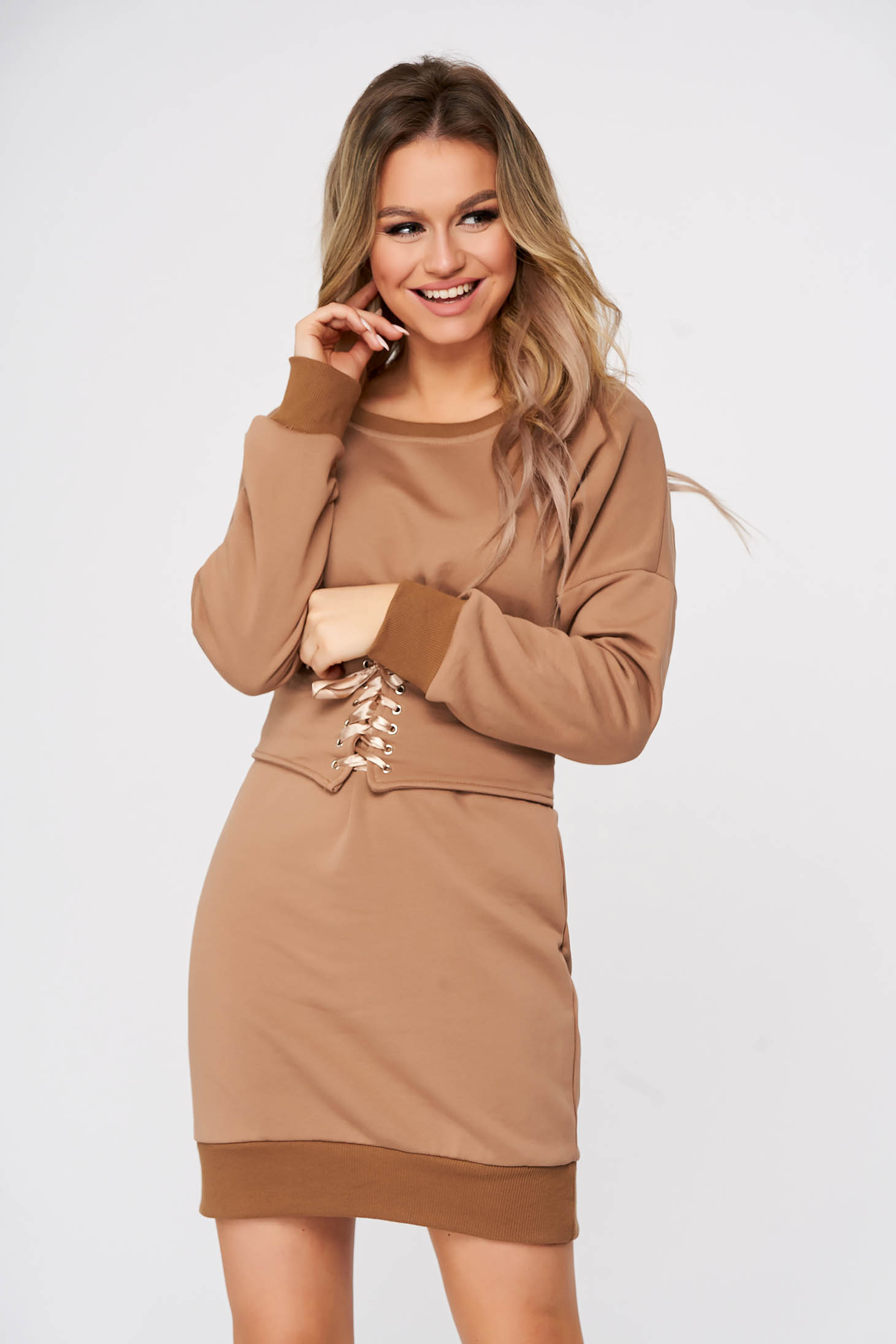 Brown dress short cut daily straight cotton accessorized with belt