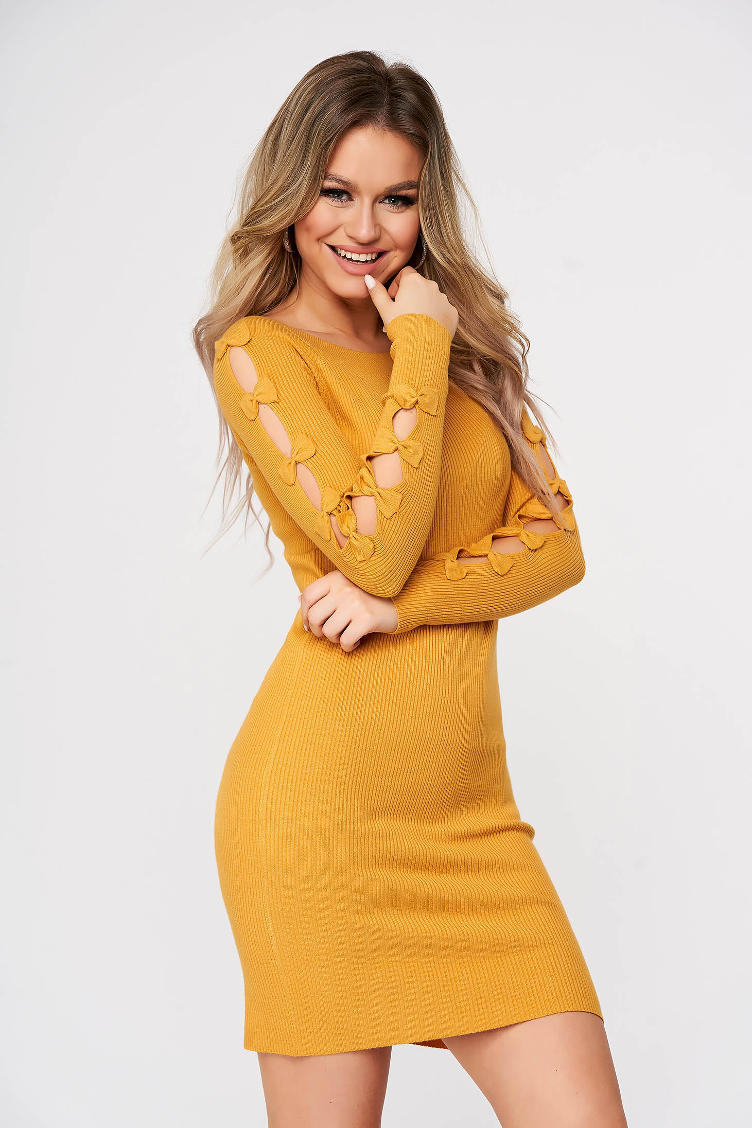 Yellow dress short cut daily pencil with cut-out sleeves with bow accessories from striped fabric