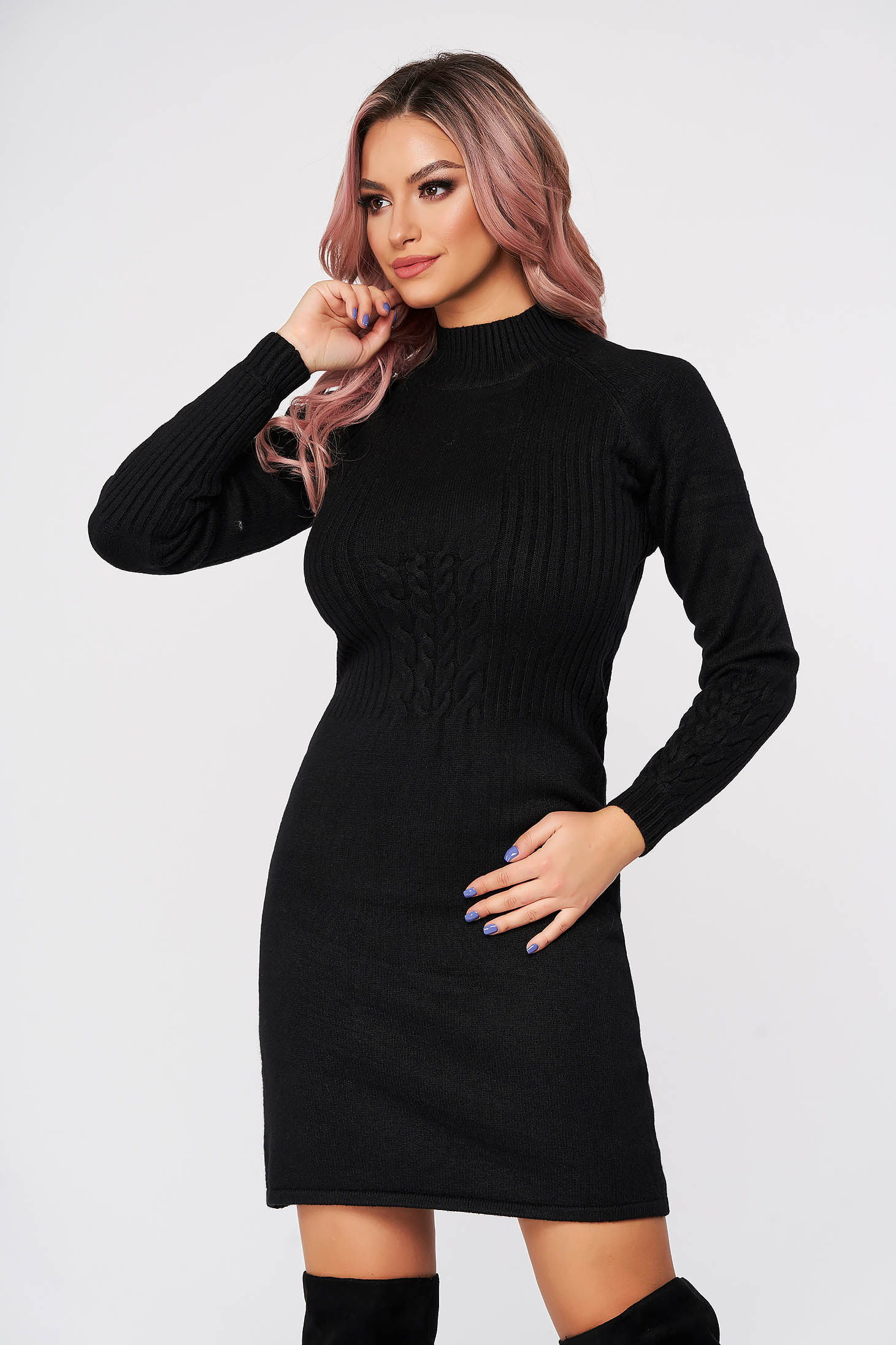 Black dress short cut daily cloche knitted fabric with turtle neck