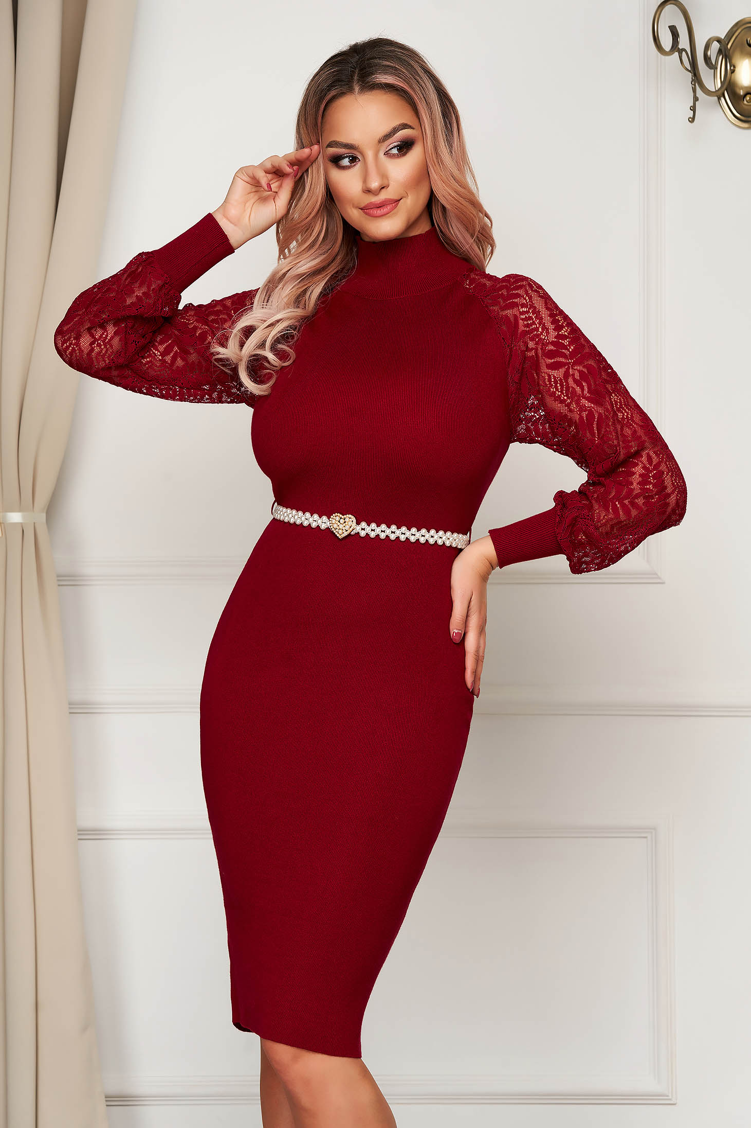 Burgundy dress midi daily pencil knitted with turtle neck
