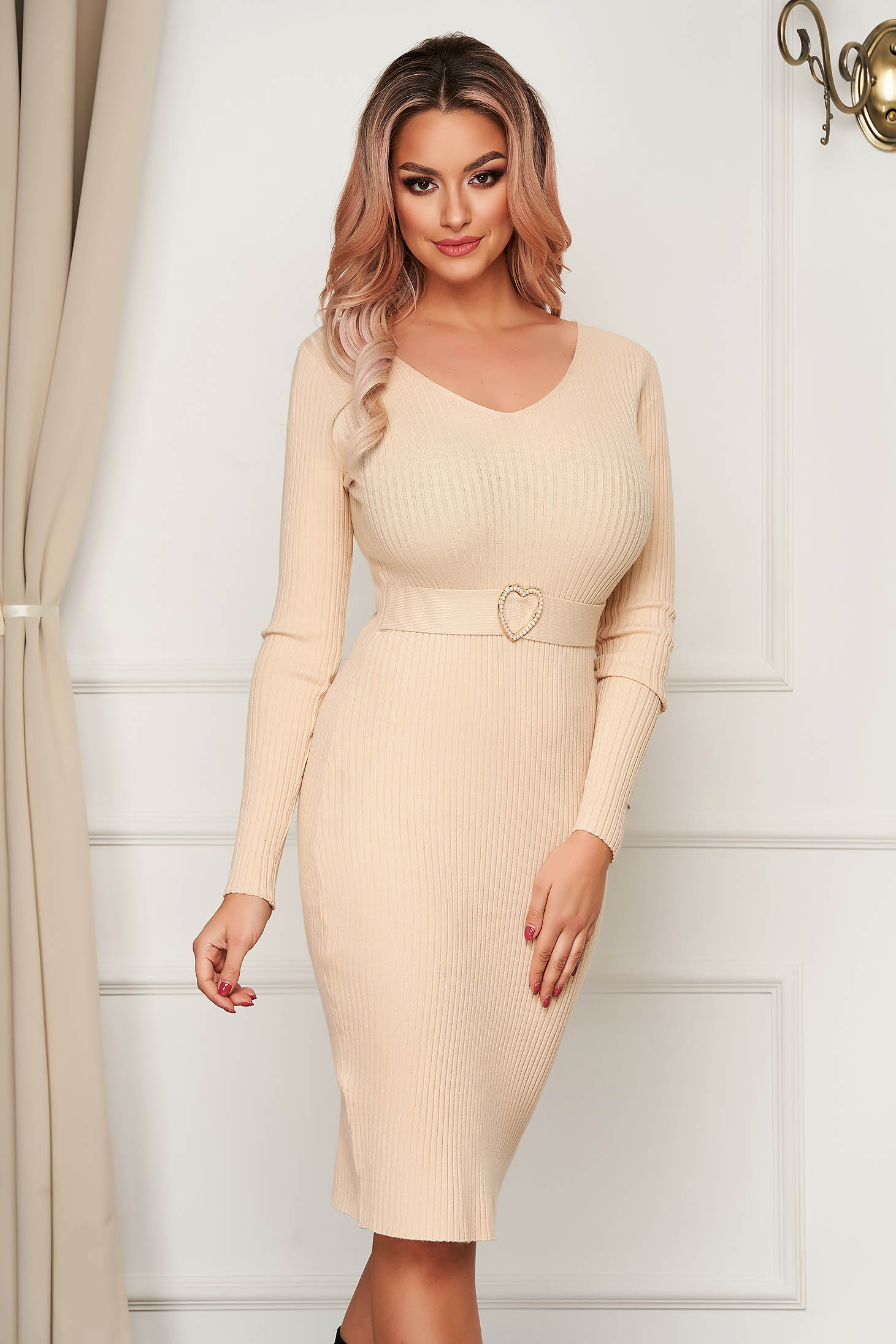 Cream dress midi pencil knitted with v-neckline daily
