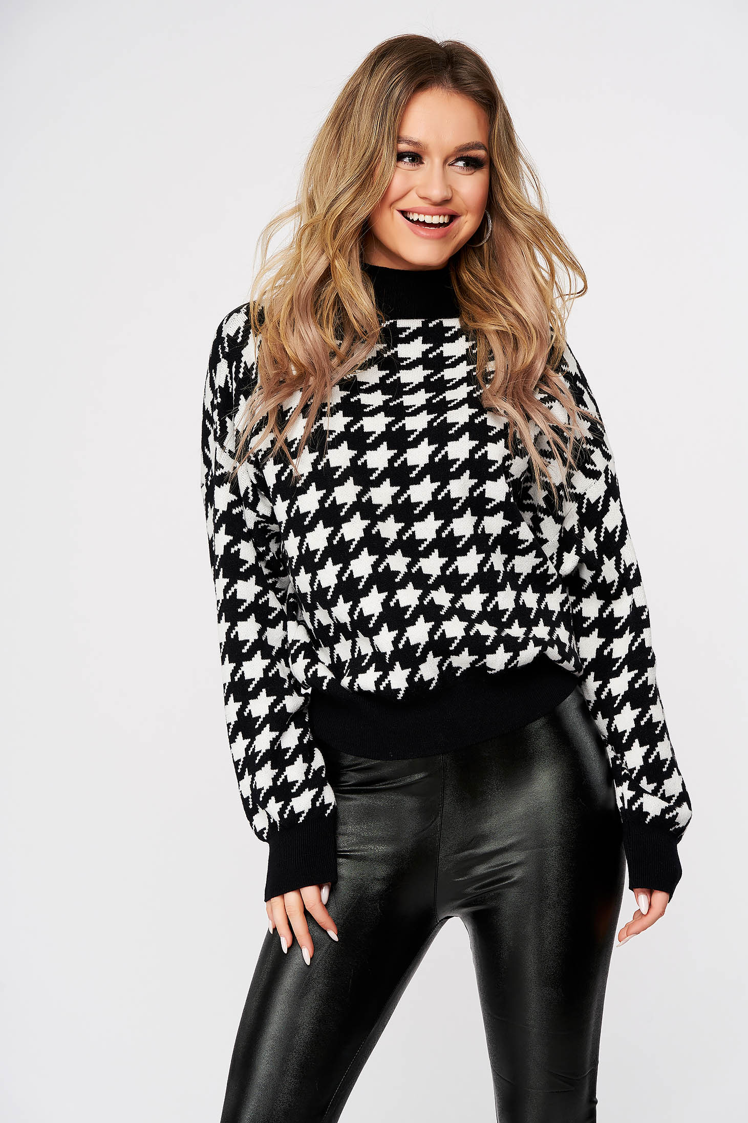 Black sweater with chequers knitted turtleneck casual