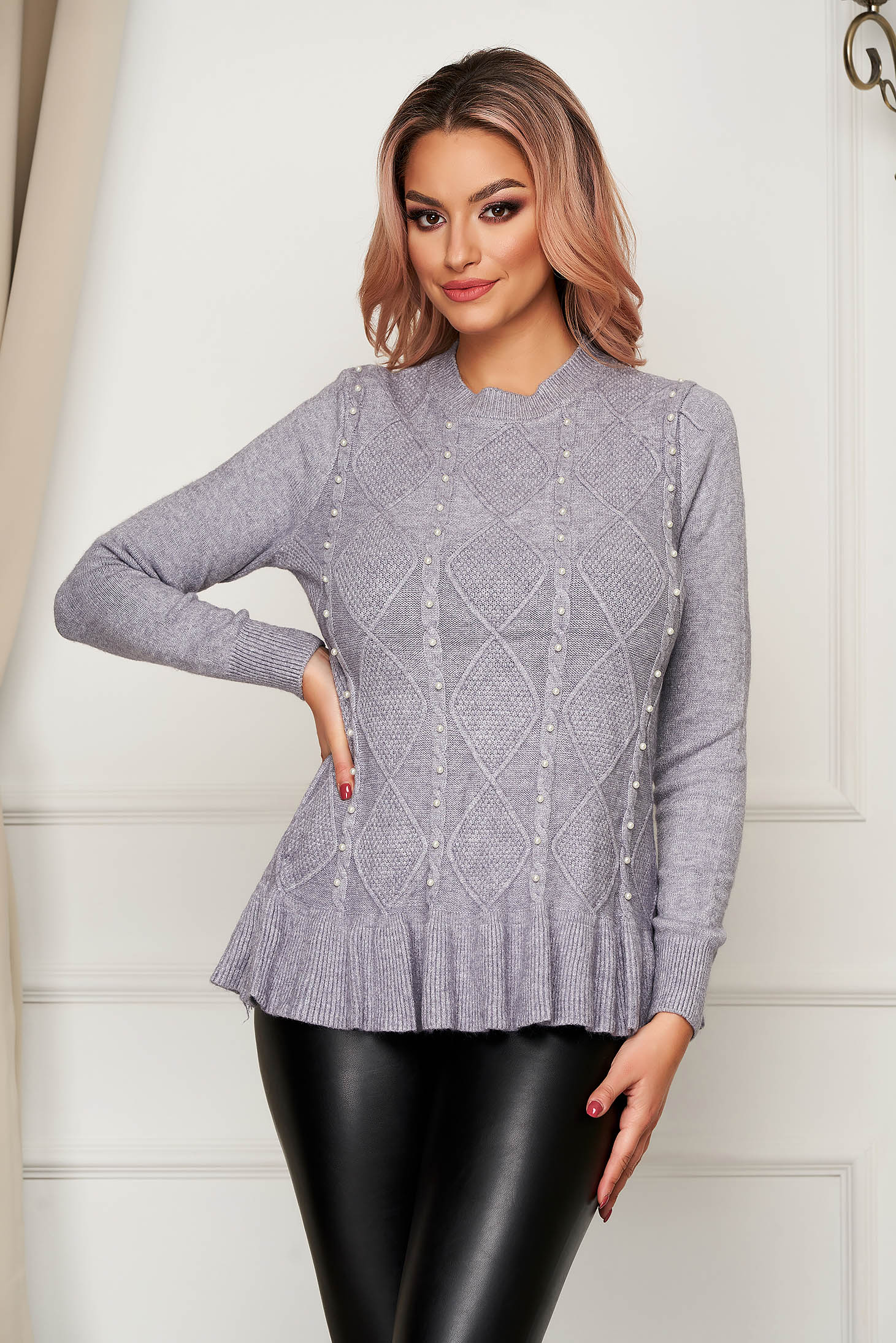 Grey sweater casual flared knitted with pearls with ruffle details