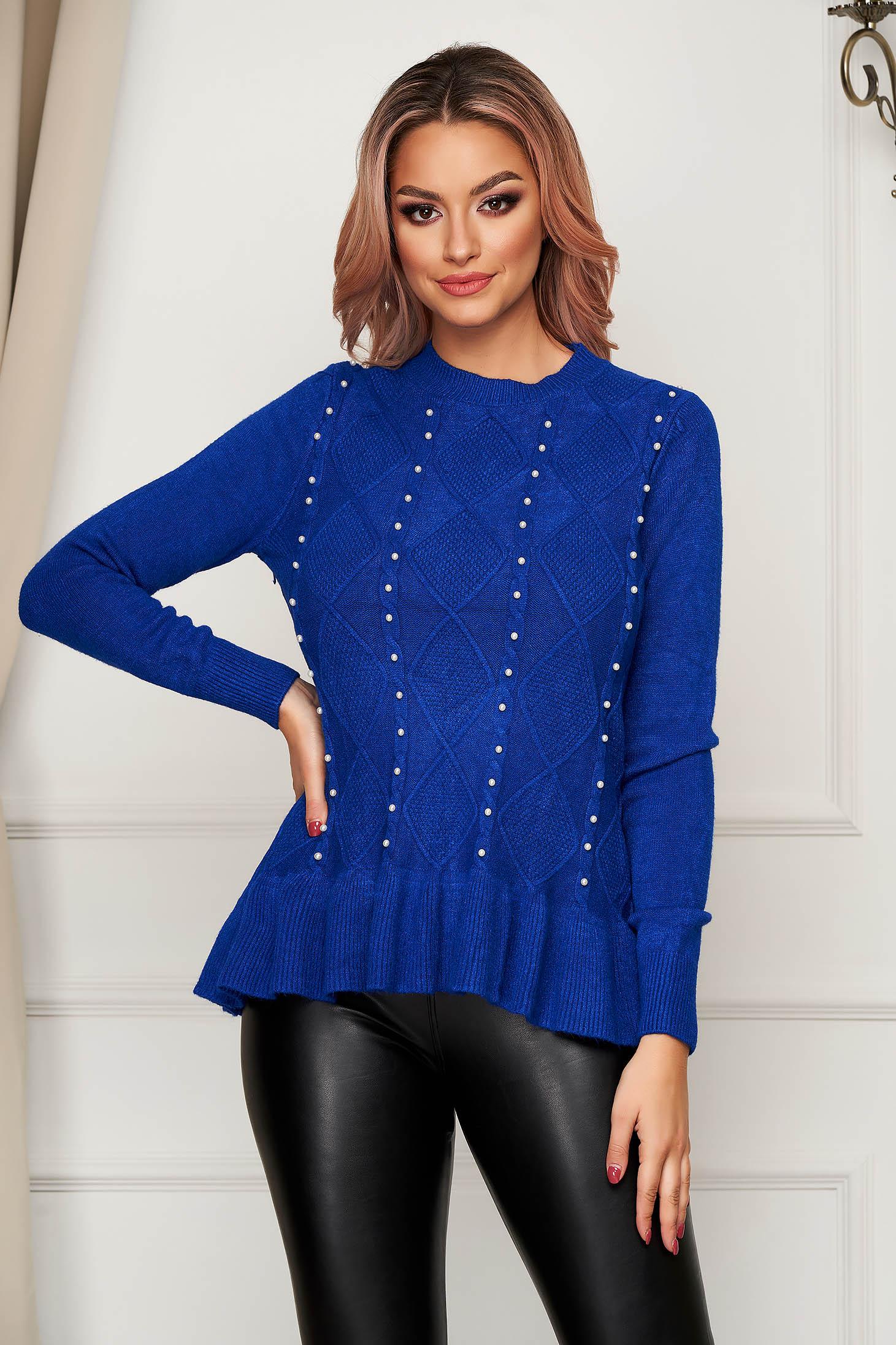 Pulover SunShine albastru casual tricotat cu croi larg cu aplicatii din perle si volanase