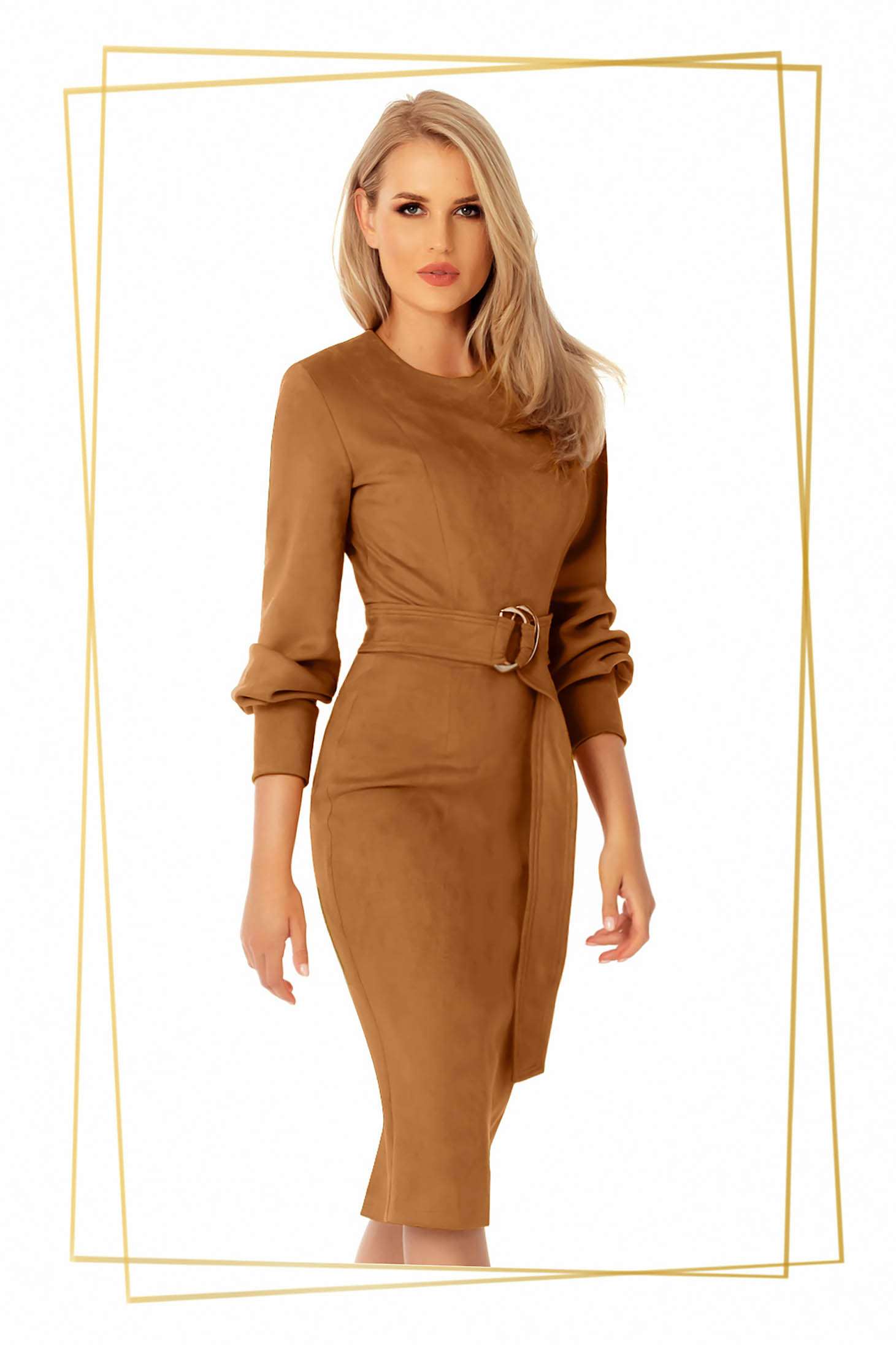 Daily dress midi brown pencil from ecological leather from suede