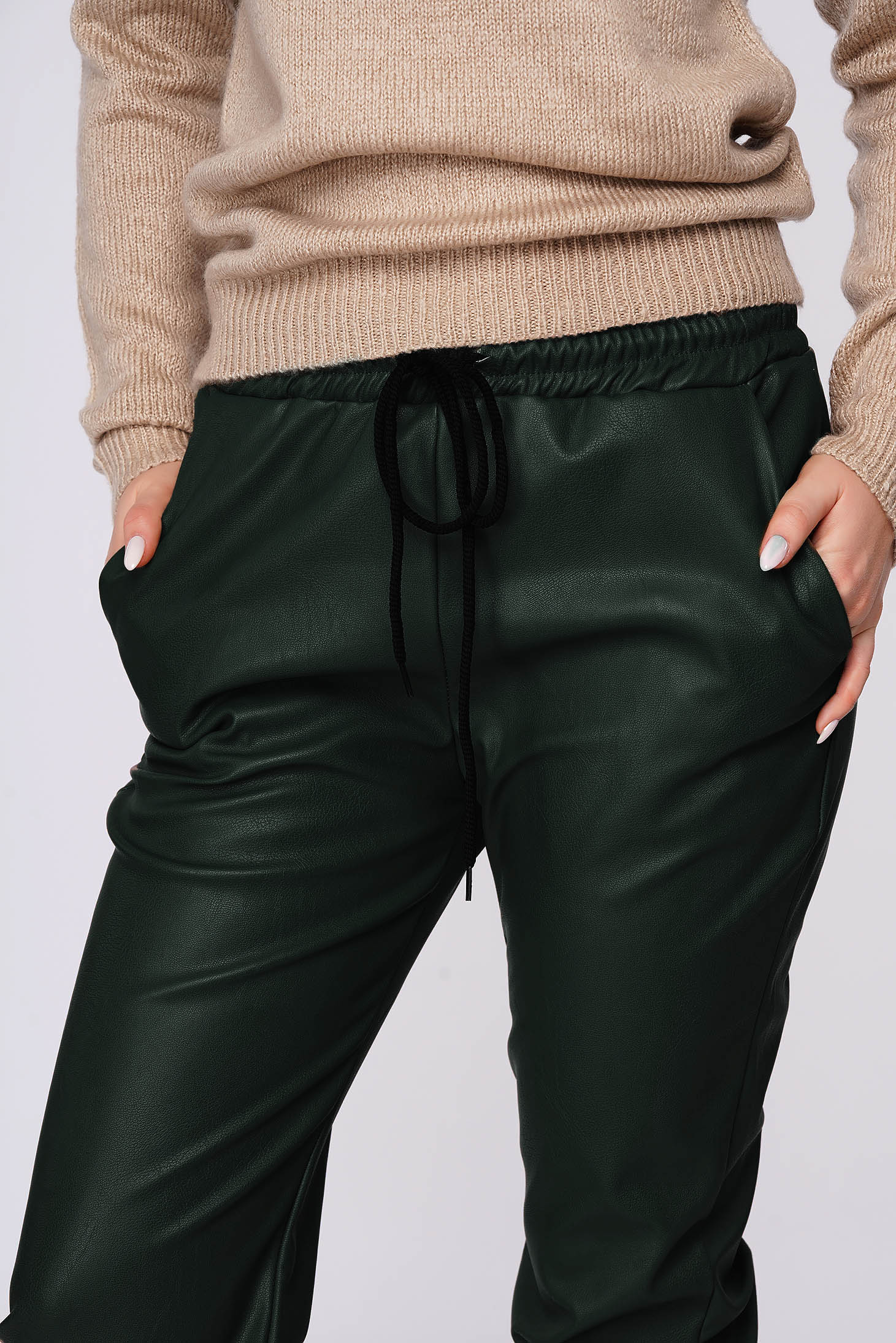 Green trousers casual medium waist elastic waist faux leather