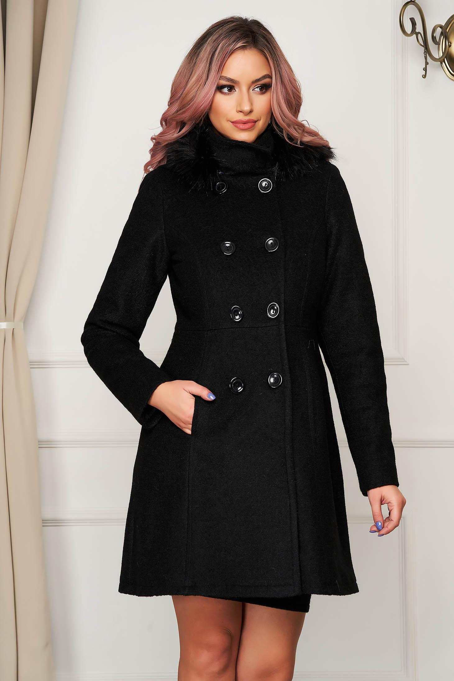 Palton din lana SunShine negru elegant cu un croi drept cu guler din blana artificiala