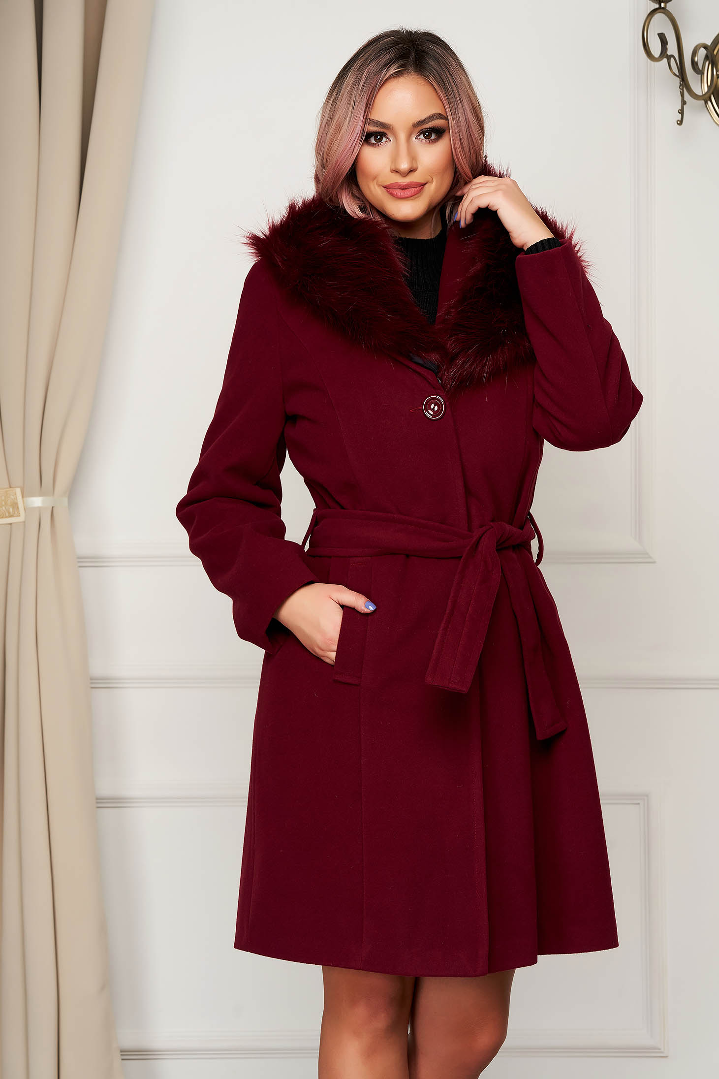 Burgundy coat wool straight elegant fur collar accessorized with tied waistband