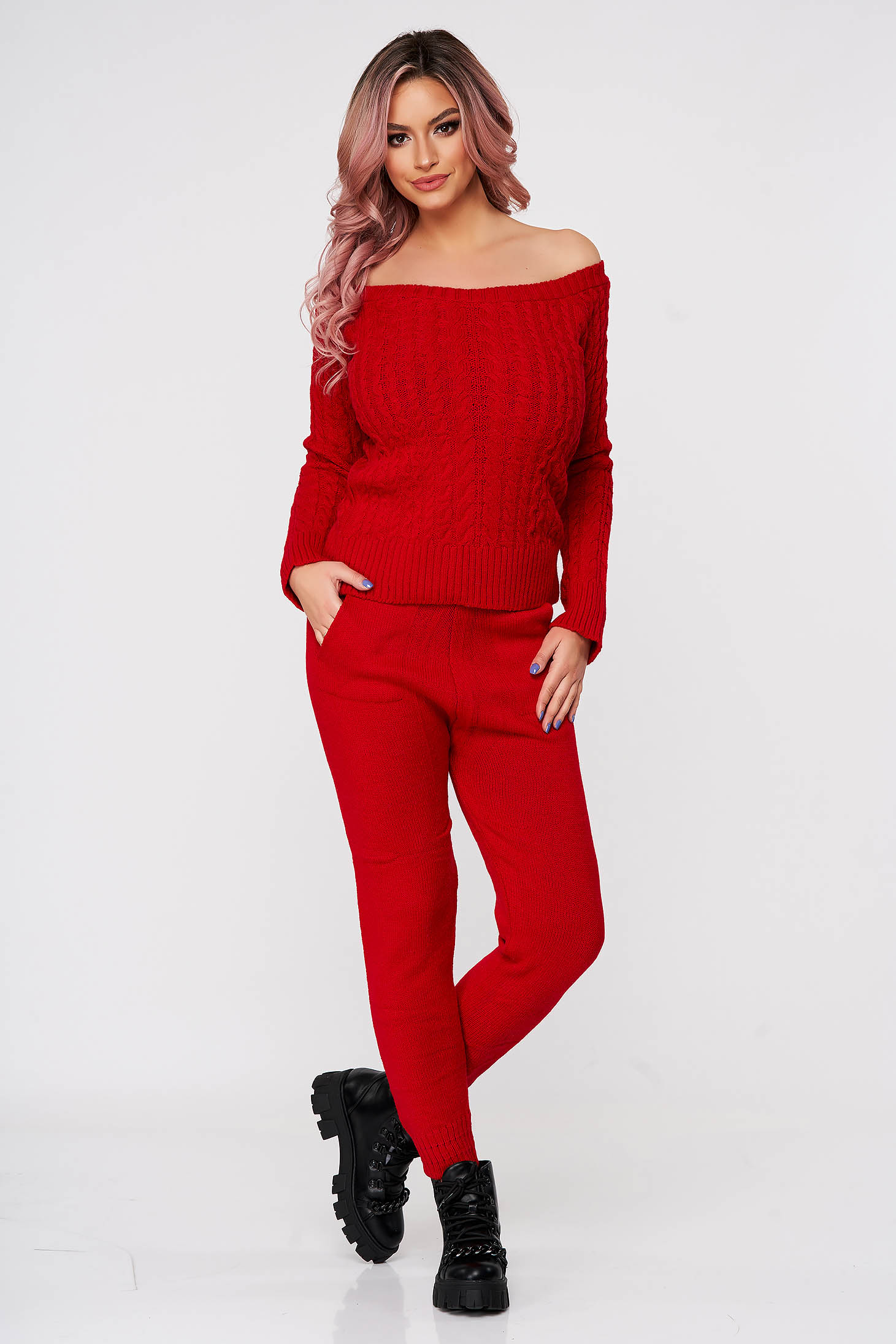 Trening dama SunShine rosu casual tricotat cu material impletit din doua piese