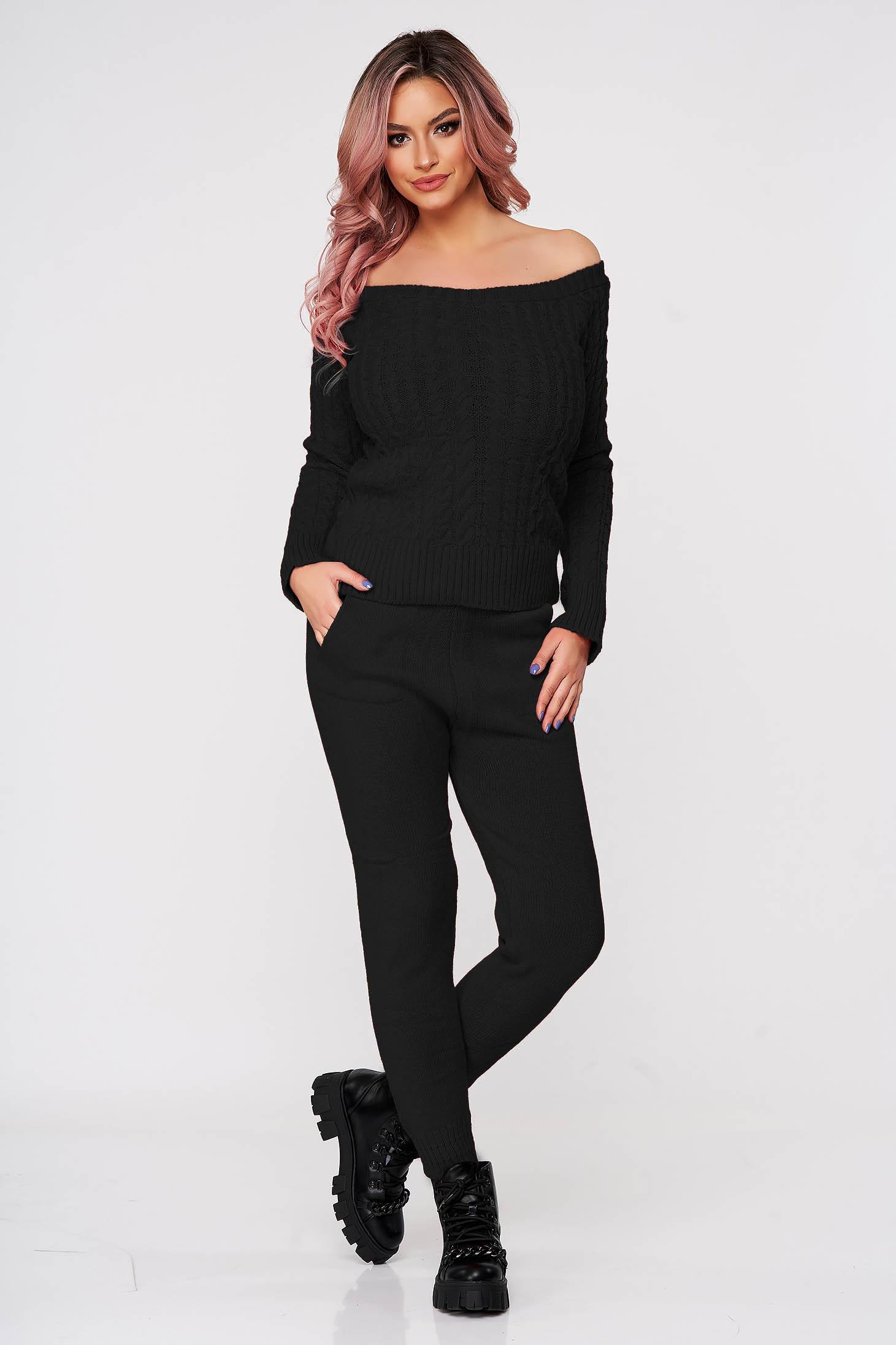 Trening dama SunShine negru casual tricotat cu material impletit din doua piese