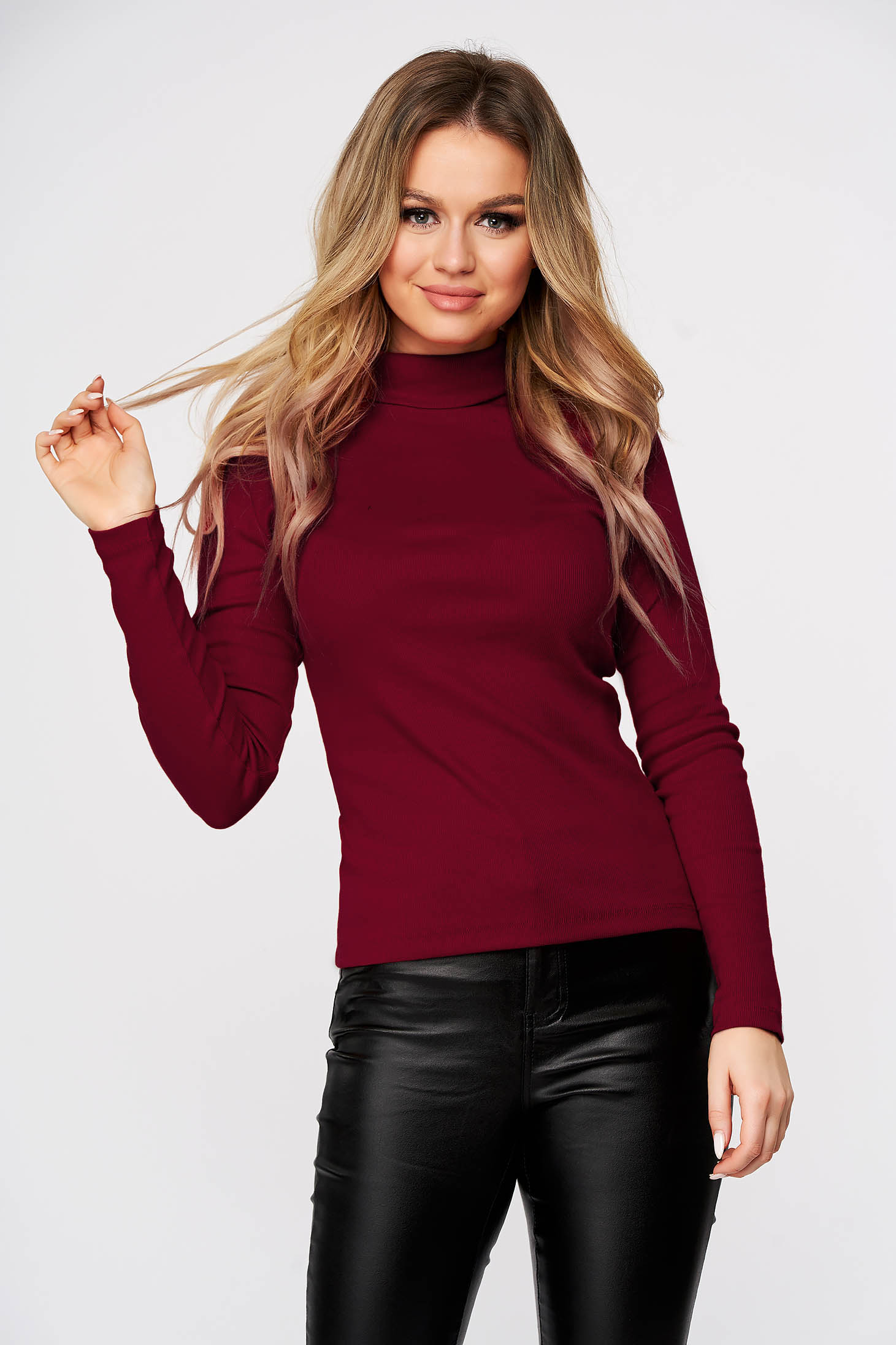 Burgundy women`s blouse slightly elastic cotton turtleneck from striped fabric form-fitting casual