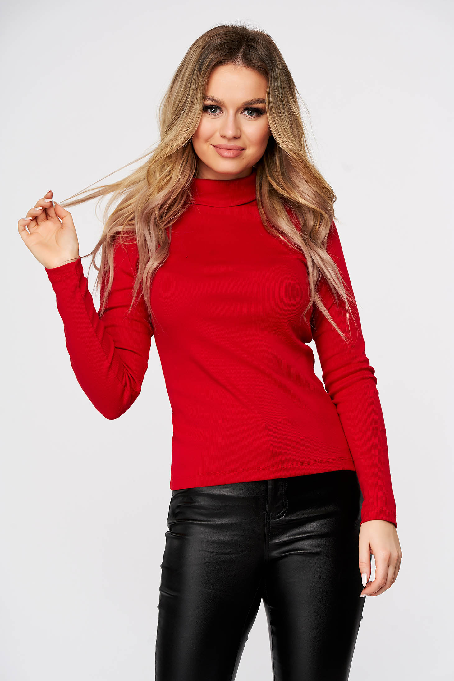 Red women`s blouse slightly elastic cotton turtleneck from striped fabric form-fitting casual