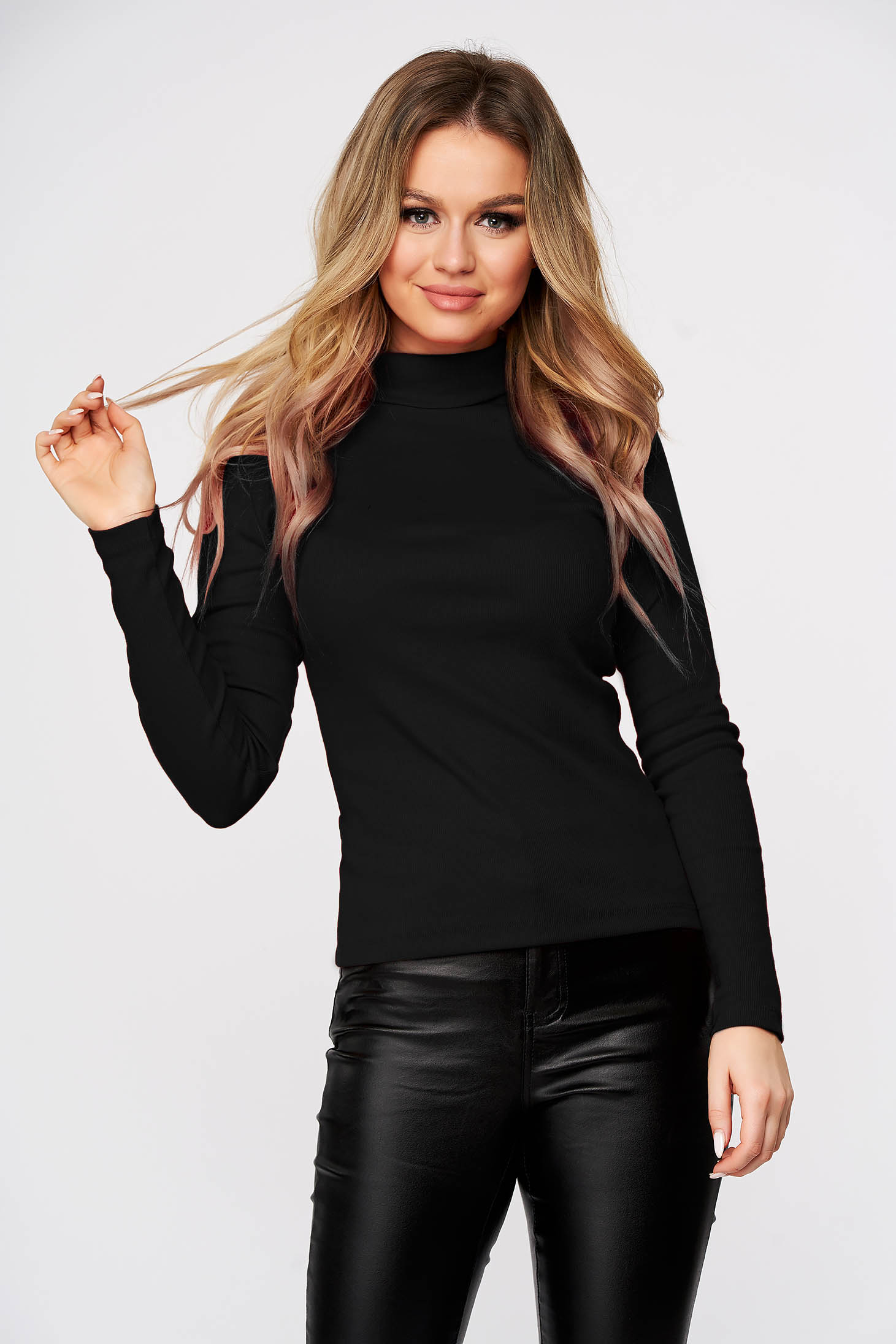 Black women`s blouse slightly elastic cotton turtleneck from striped fabric form-fitting casual