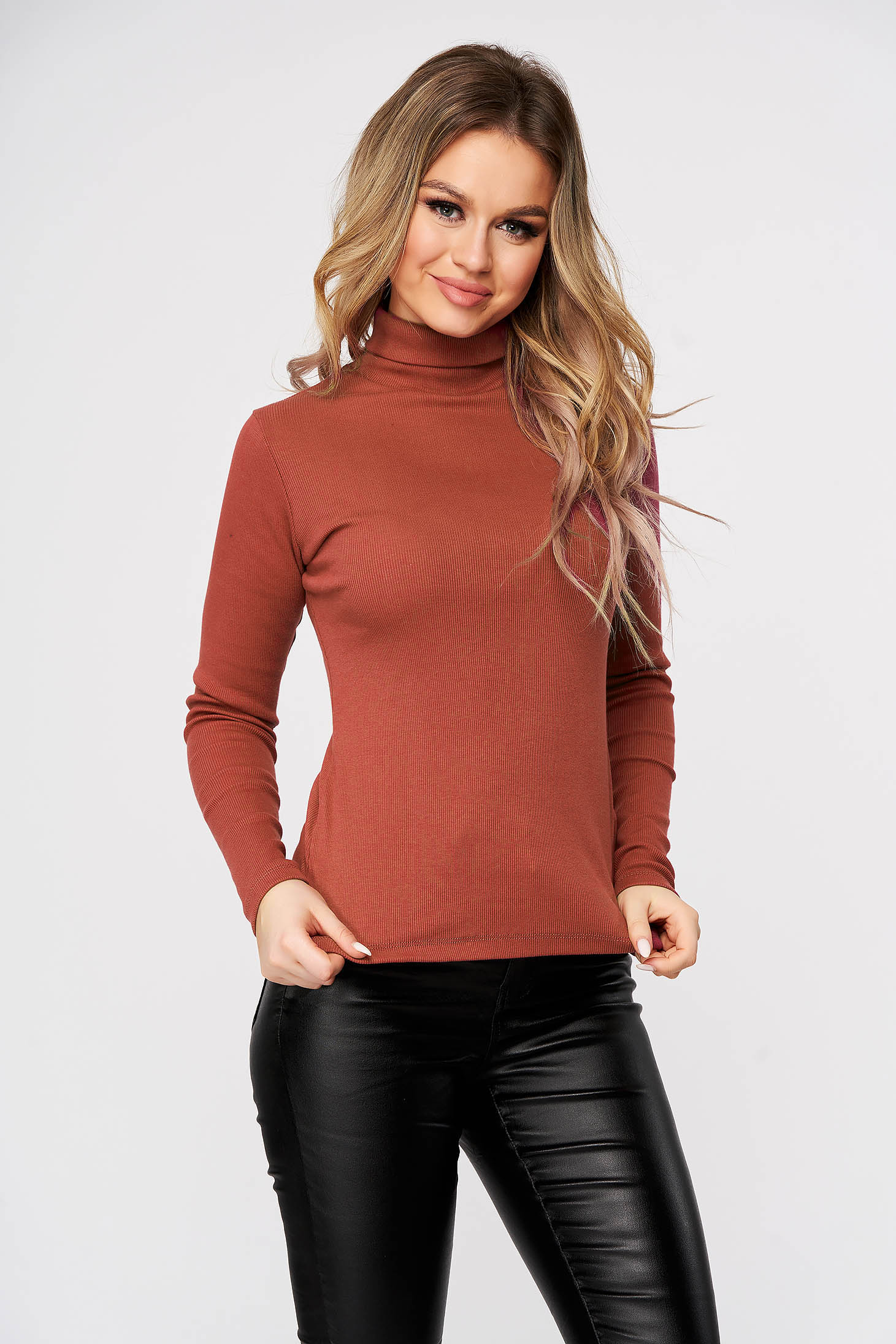 Bricky women`s blouse slightly elastic cotton turtleneck from striped fabric form-fitting casual