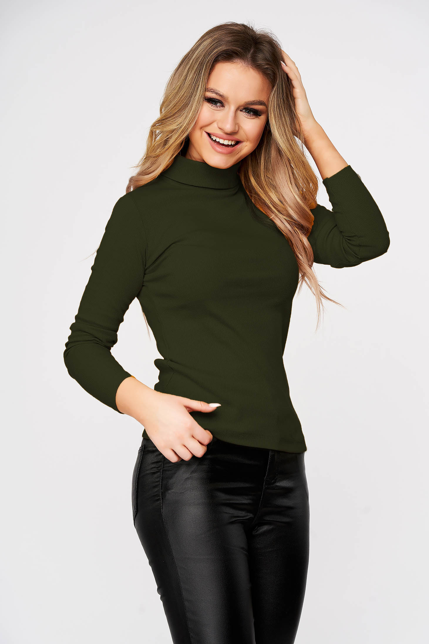Khaki women`s blouse slightly elastic cotton turtleneck from striped fabric form-fitting casual