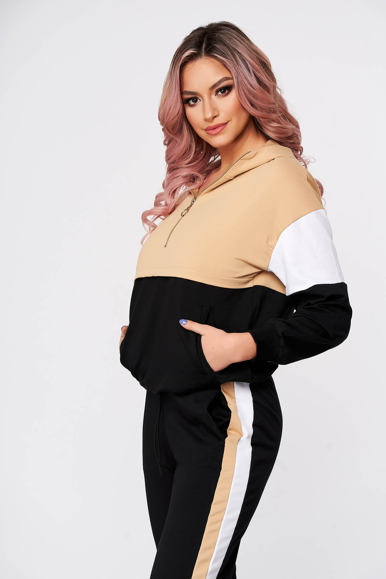 Casual cream from two pieces sport 2 pieces with trousers slightly elastic cotton