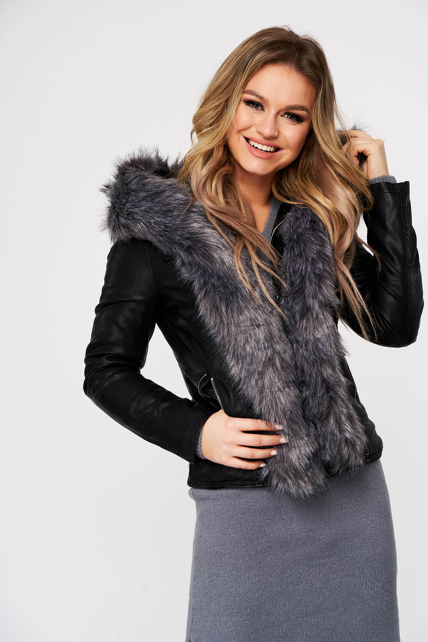 Grey jacket from ecological leather with furry hood with faux fur details