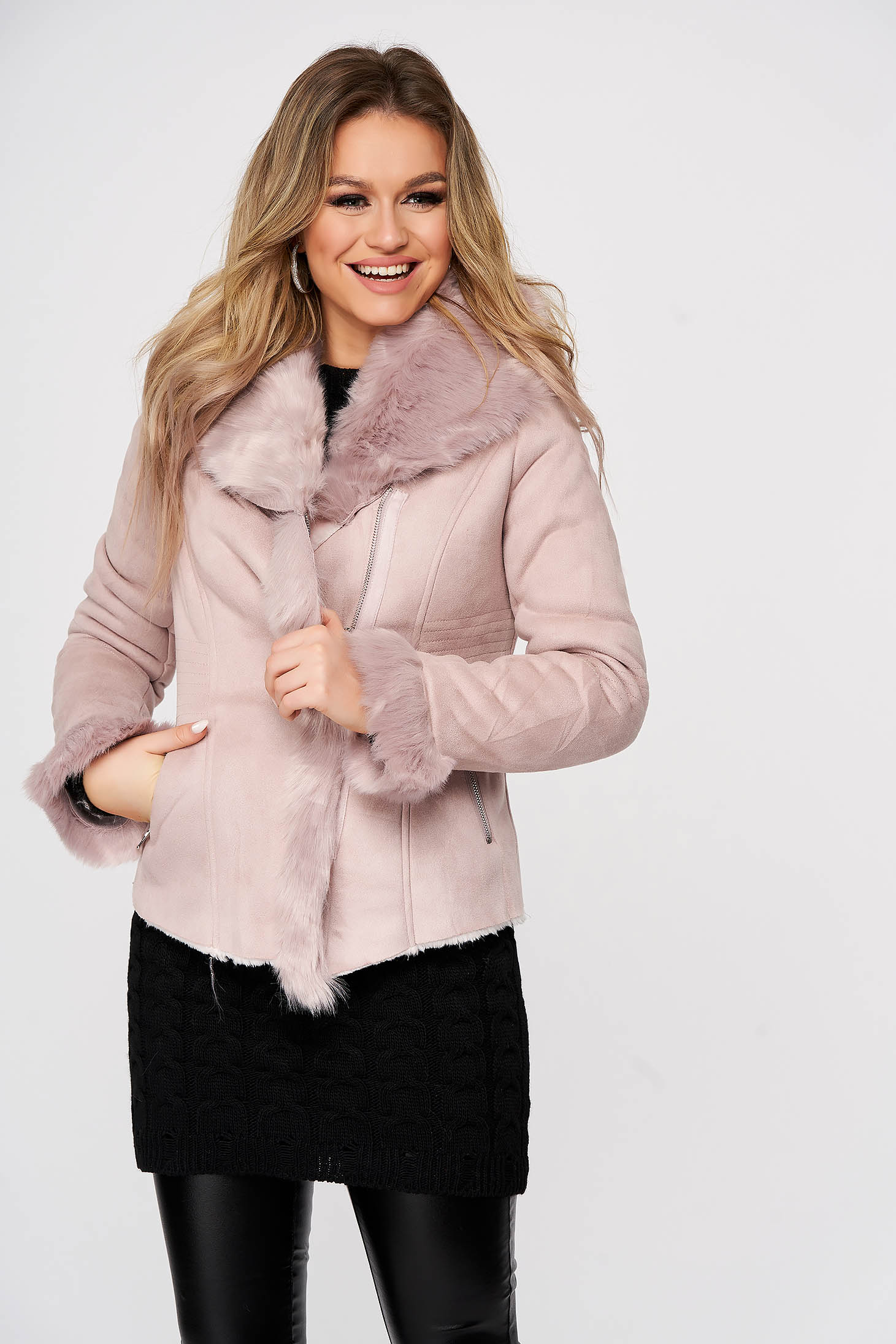 Geaca SunShine roz-deschis din piele intoarsa ecologica captusita cu insertii cu blana artificiala
