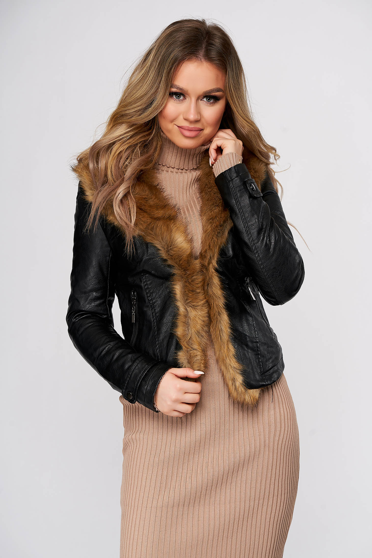 Black jacket thin fur lining fur collar with faux fur details with pockets from ecological leather
