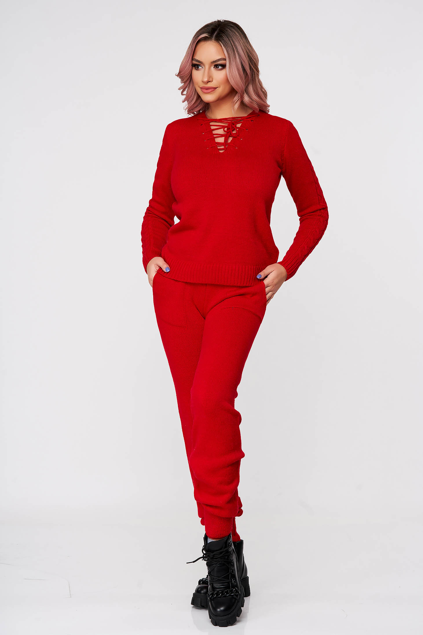 Red sport 2 pieces from two pieces from braided fabric knitted ribbon fastening