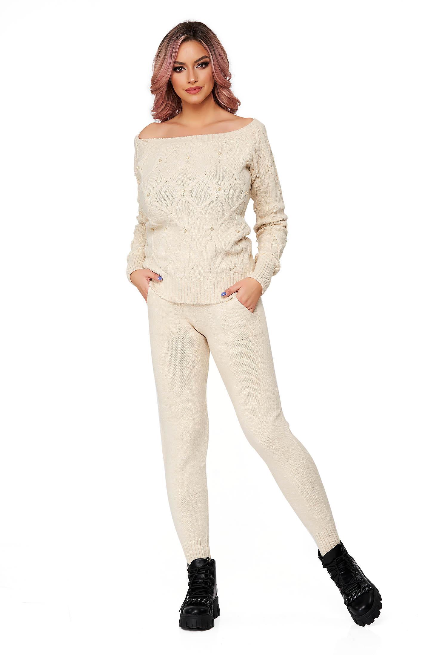 Trening dama SunShine crem din doua piese cu croi larg din material tricotat