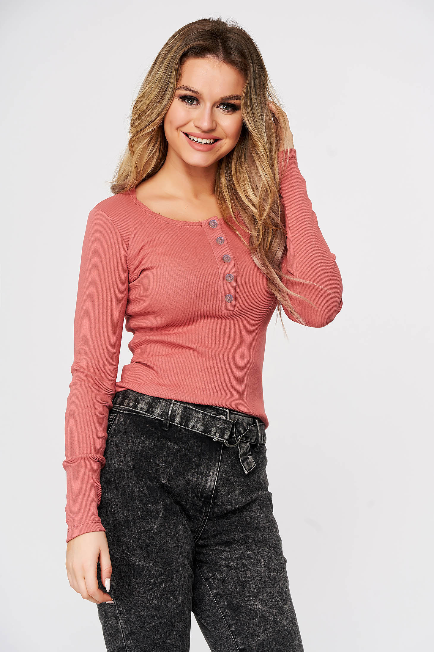 Pink women`s blouse from striped fabric slightly elastic cotton with tented cut casual
