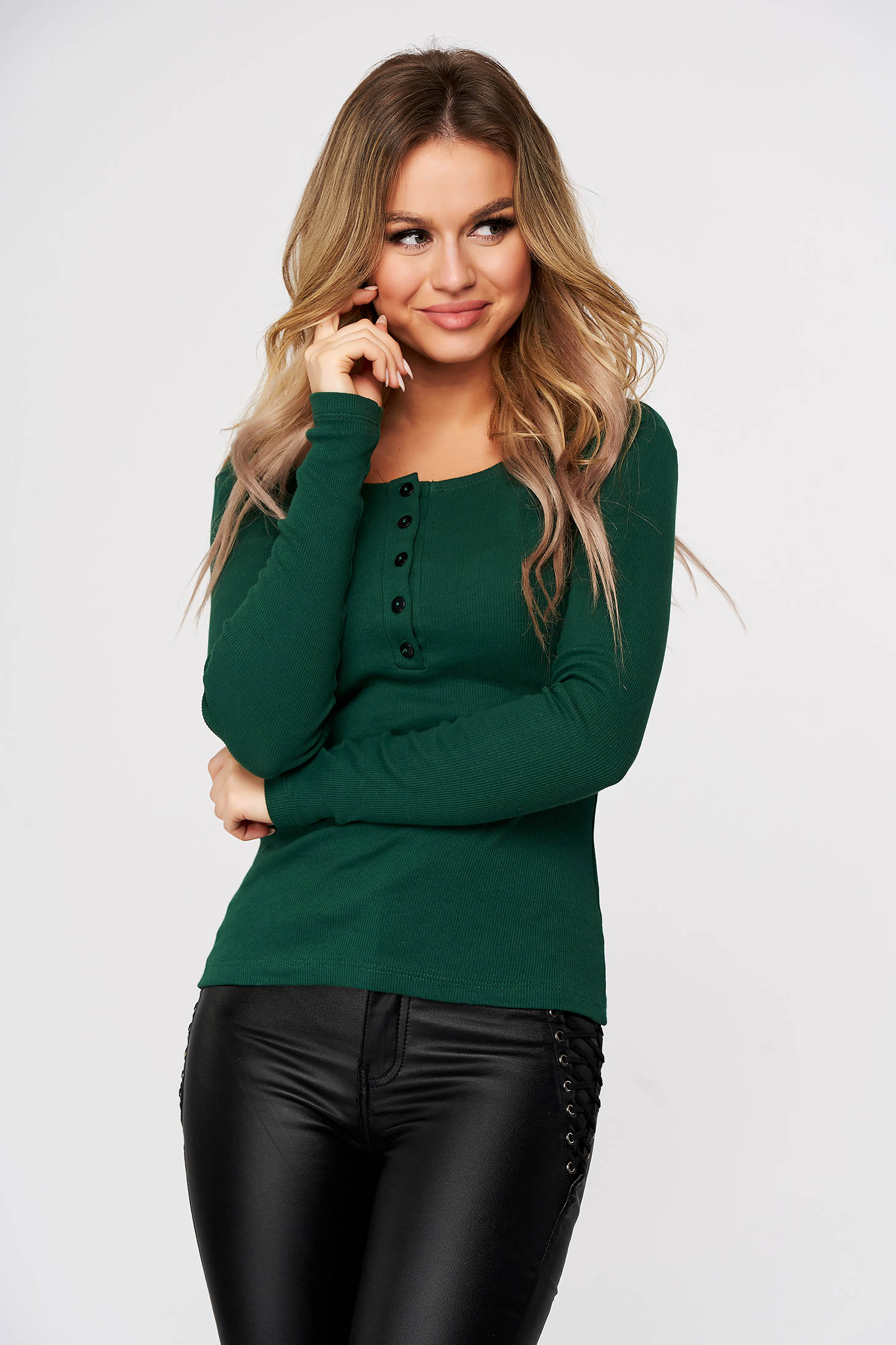Green women`s blouse from striped fabric slightly elastic cotton with tented cut casual