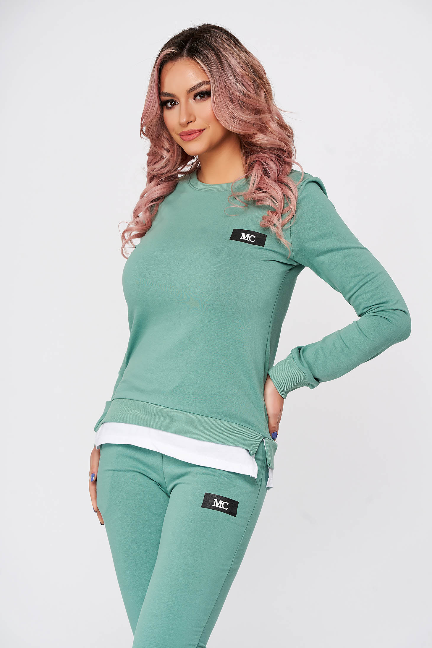 Green sport 2 pieces flared 2 pieces slightly elastic cotton with trousers