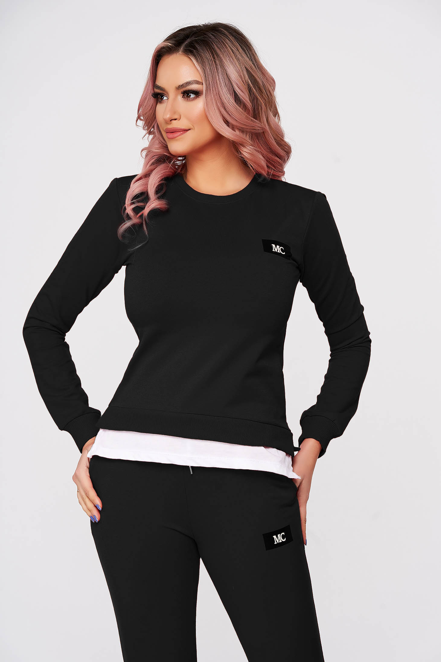 Black sport 2 pieces flared 2 pieces slightly elastic cotton with trousers