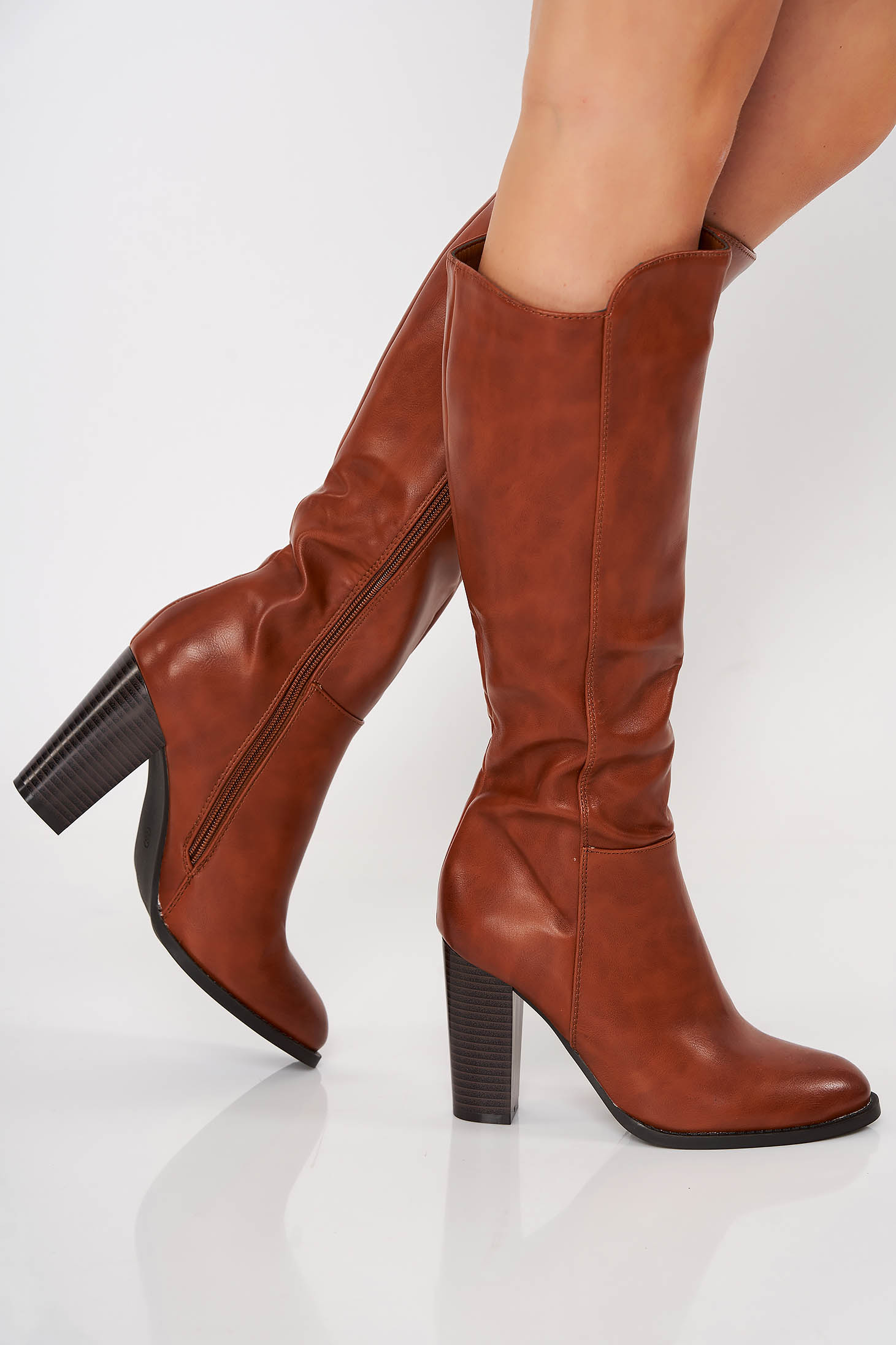 Brown office boots from ecological leather chunky heel