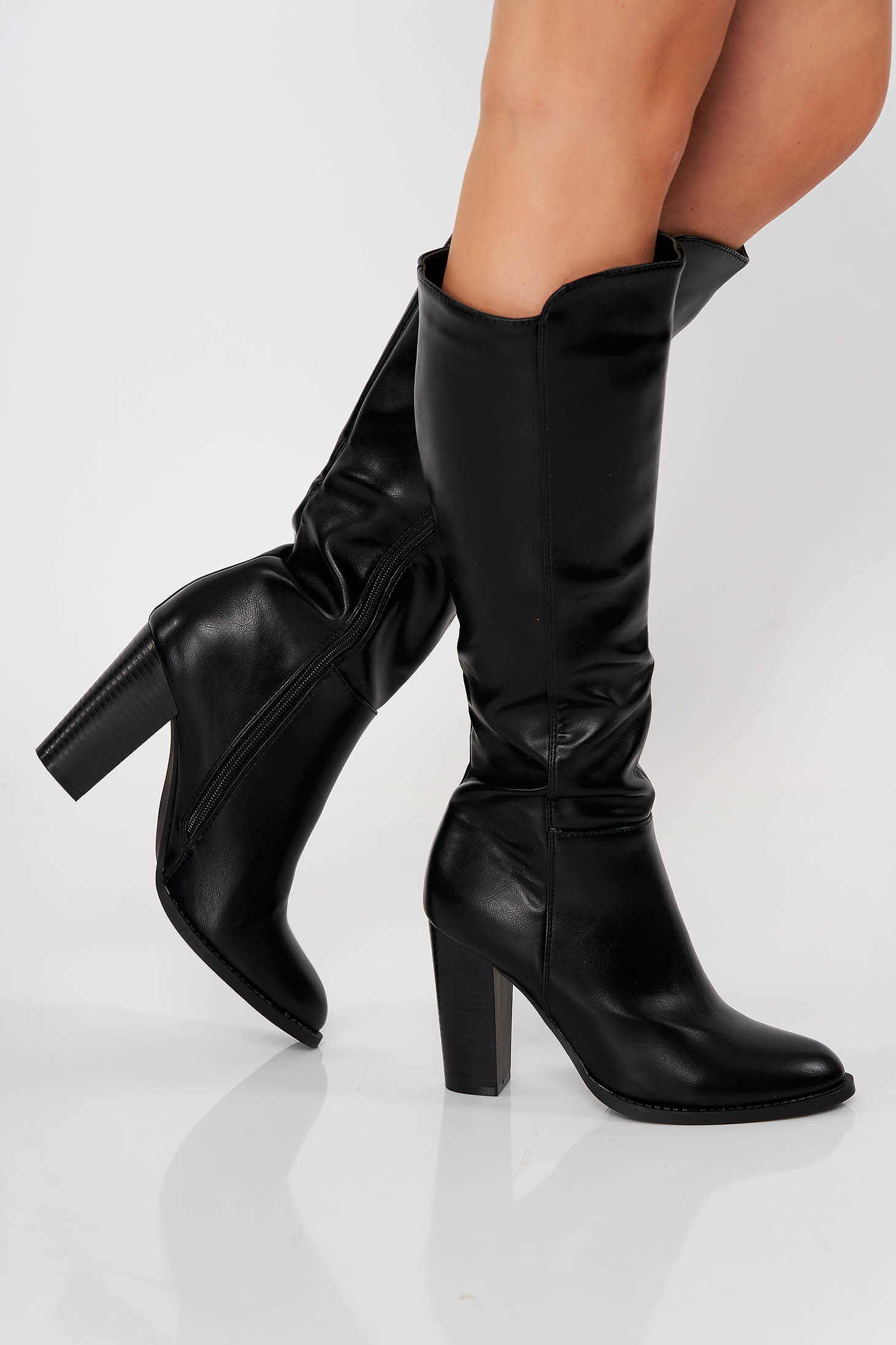 Black office boots from ecological leather chunky heel