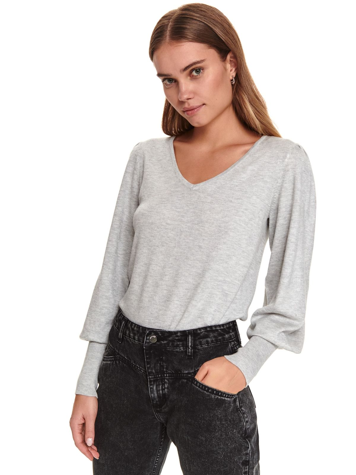 Lightgrey sweater casual knitted flared with v-neckline