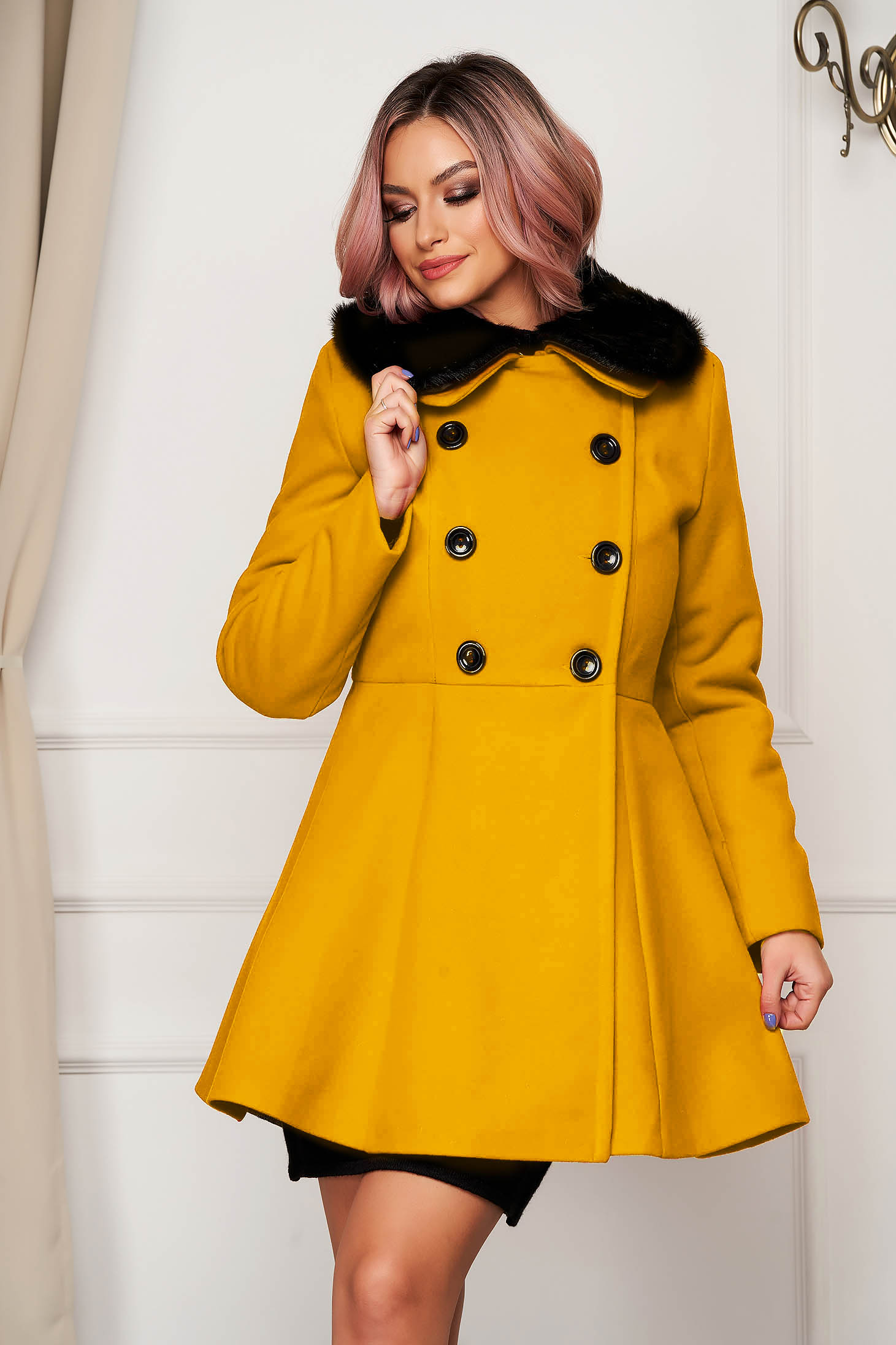 Mustard coat elegant short cut cloche wool fur collar