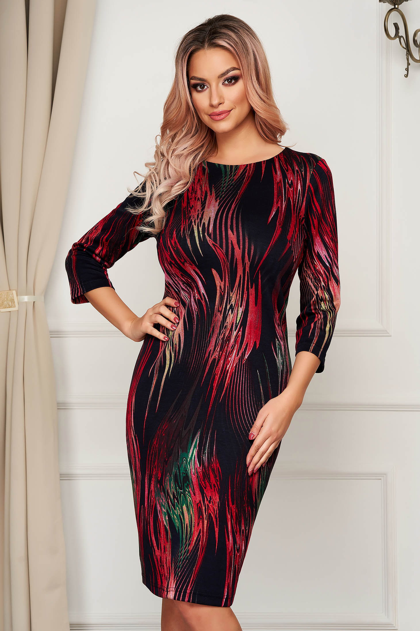 StarShinerS dress office midi pencil knitted with graphic details