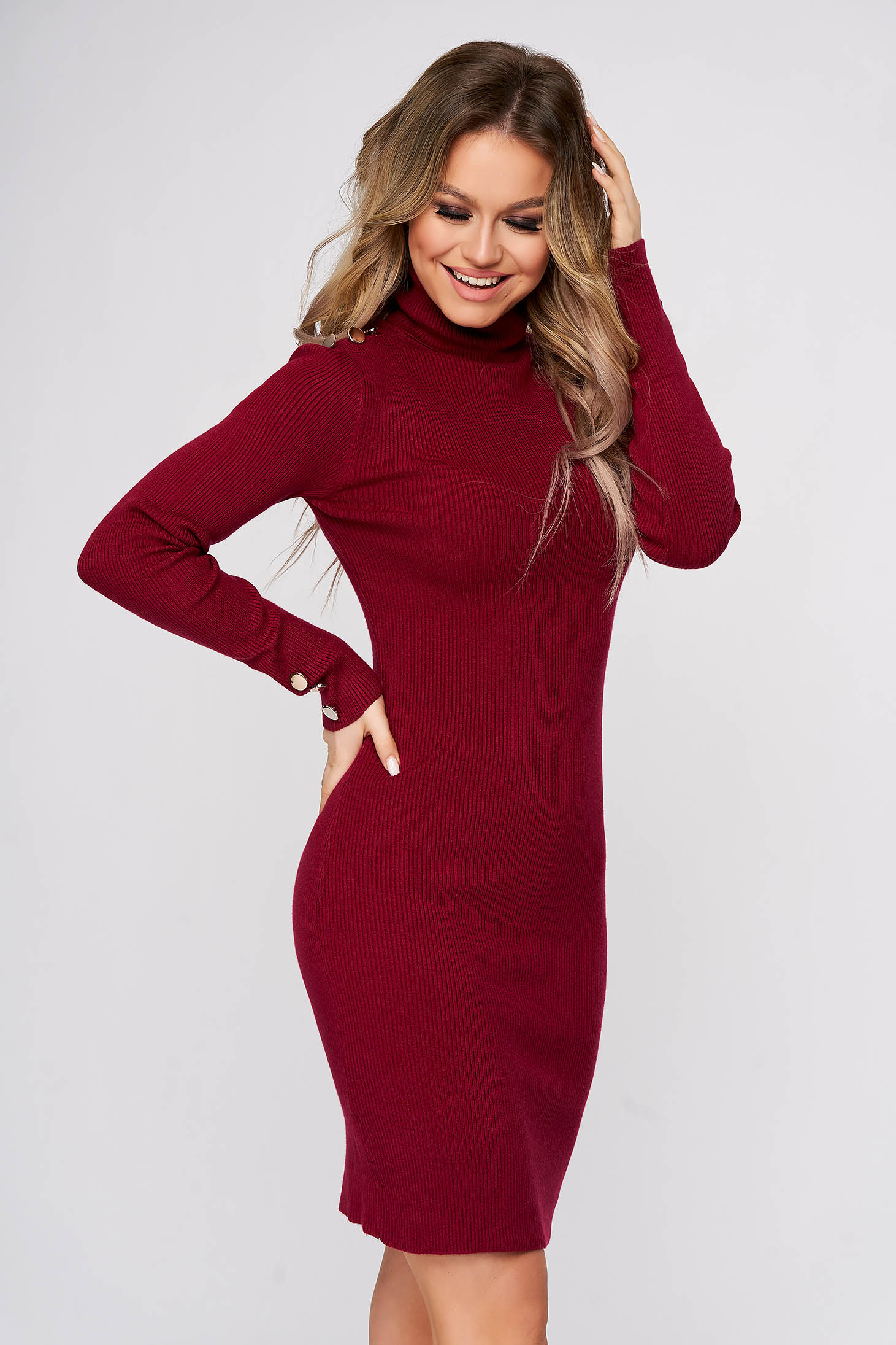 Burgundy dress short cut daily with turtle neck from striped fabric pencil