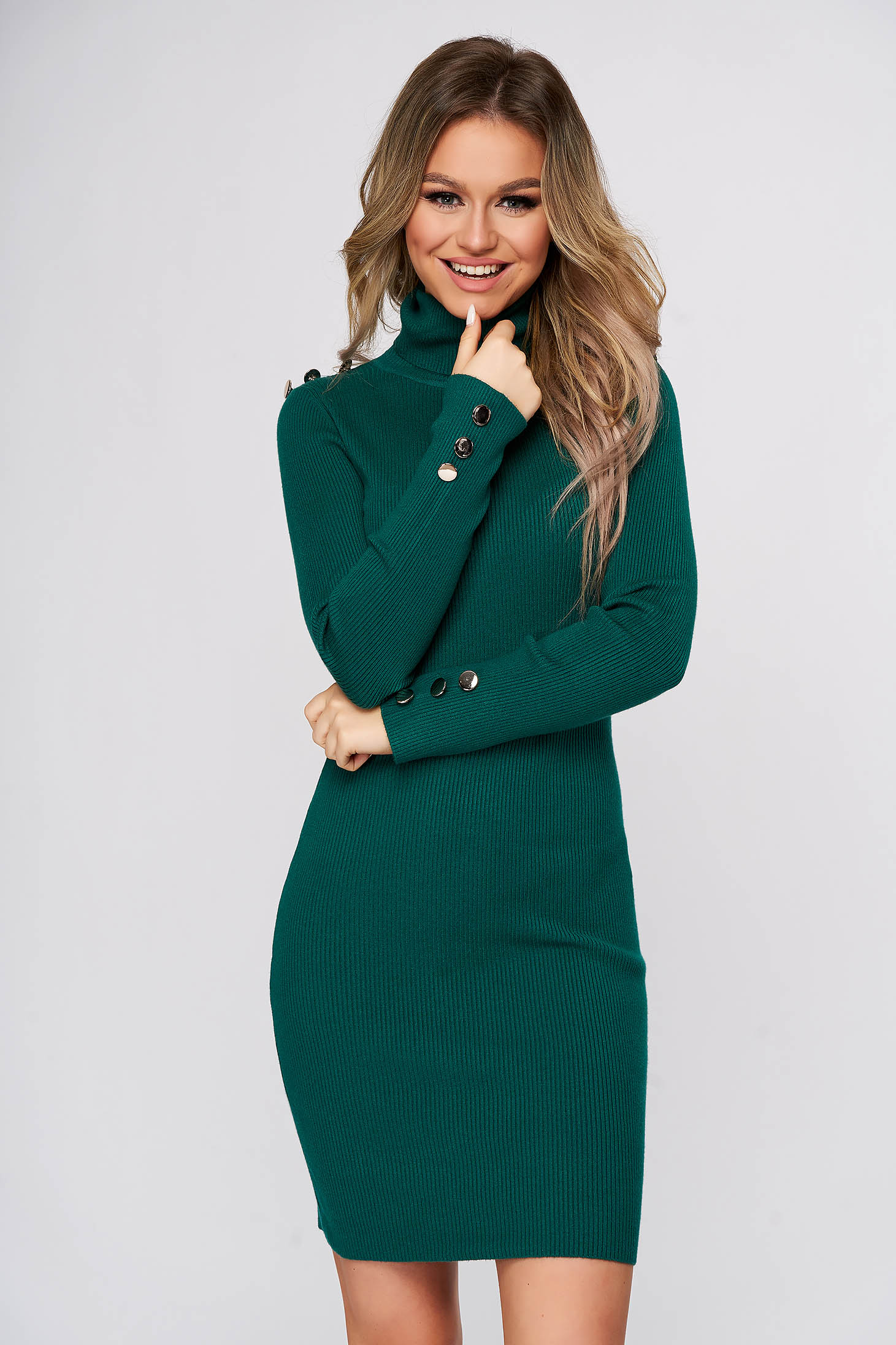 Green dress short cut daily with turtle neck from striped fabric pencil