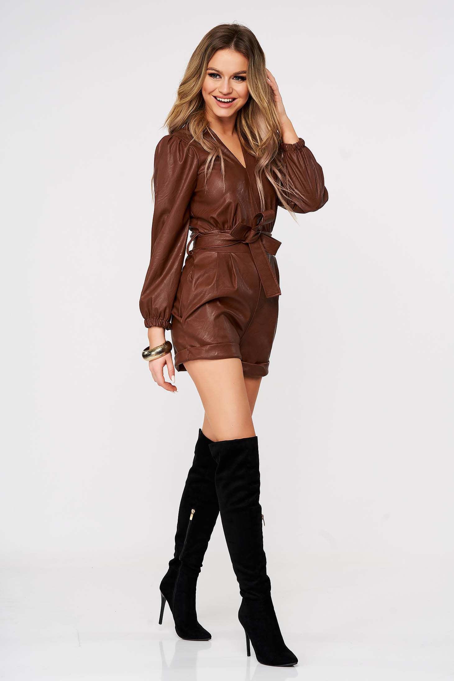 Brown jumpsuit from ecological leather with puffed sleeves women`s shorts