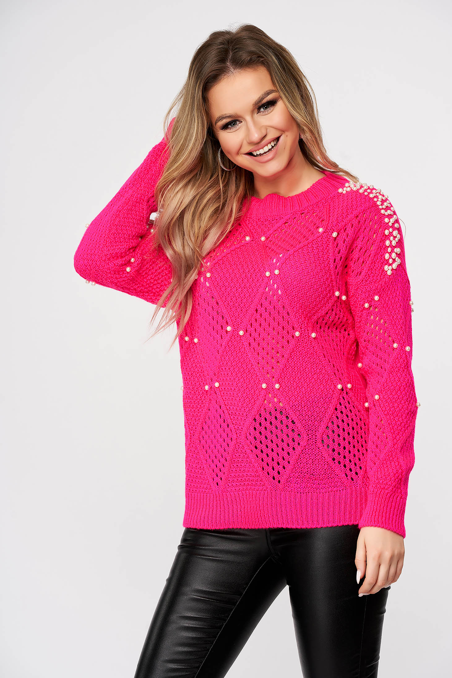 Pink sweater casual knitted flared with pearls