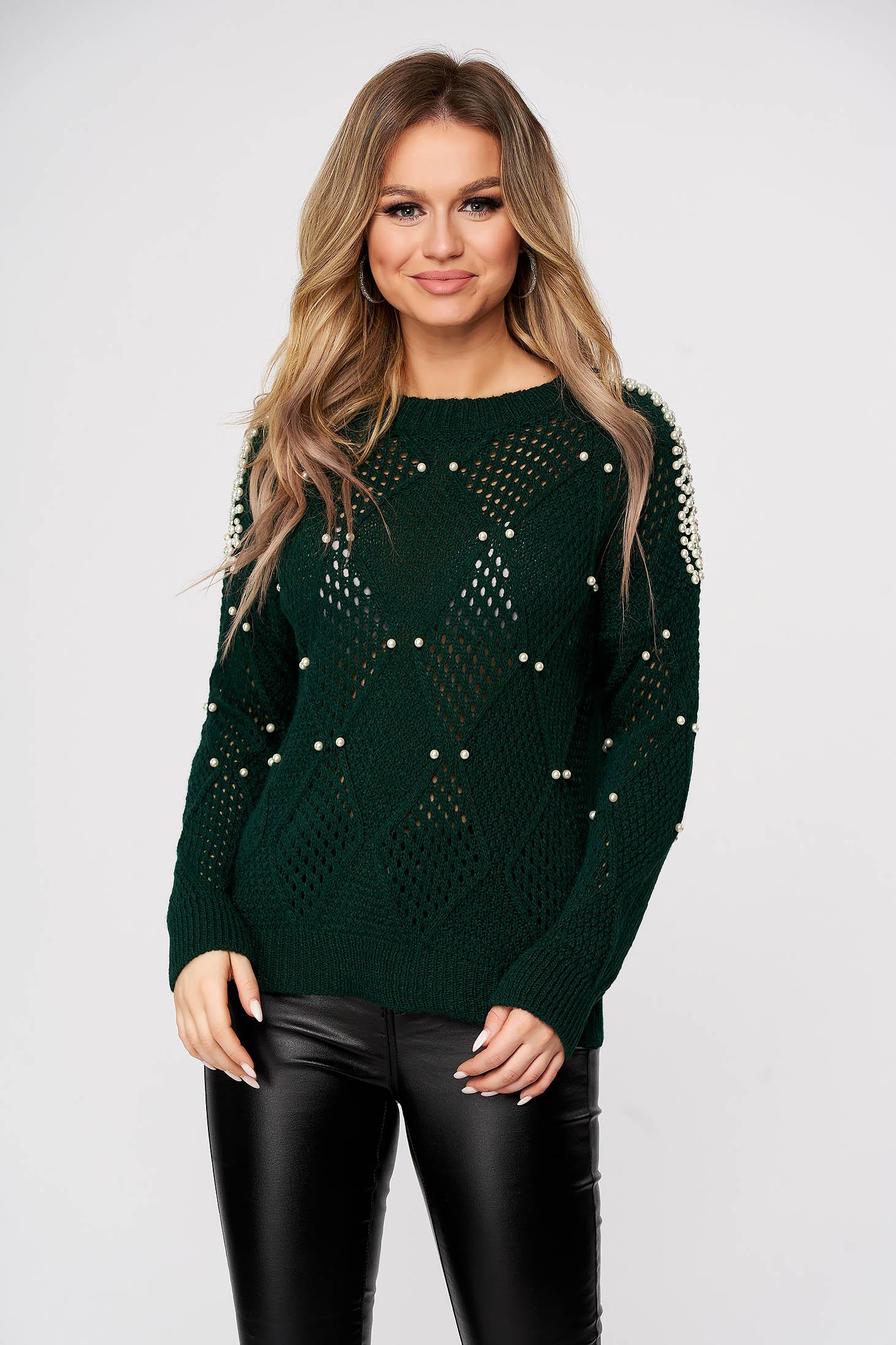 Zöld casual bő szabású kötött pulóver gyöngy díszítéssel