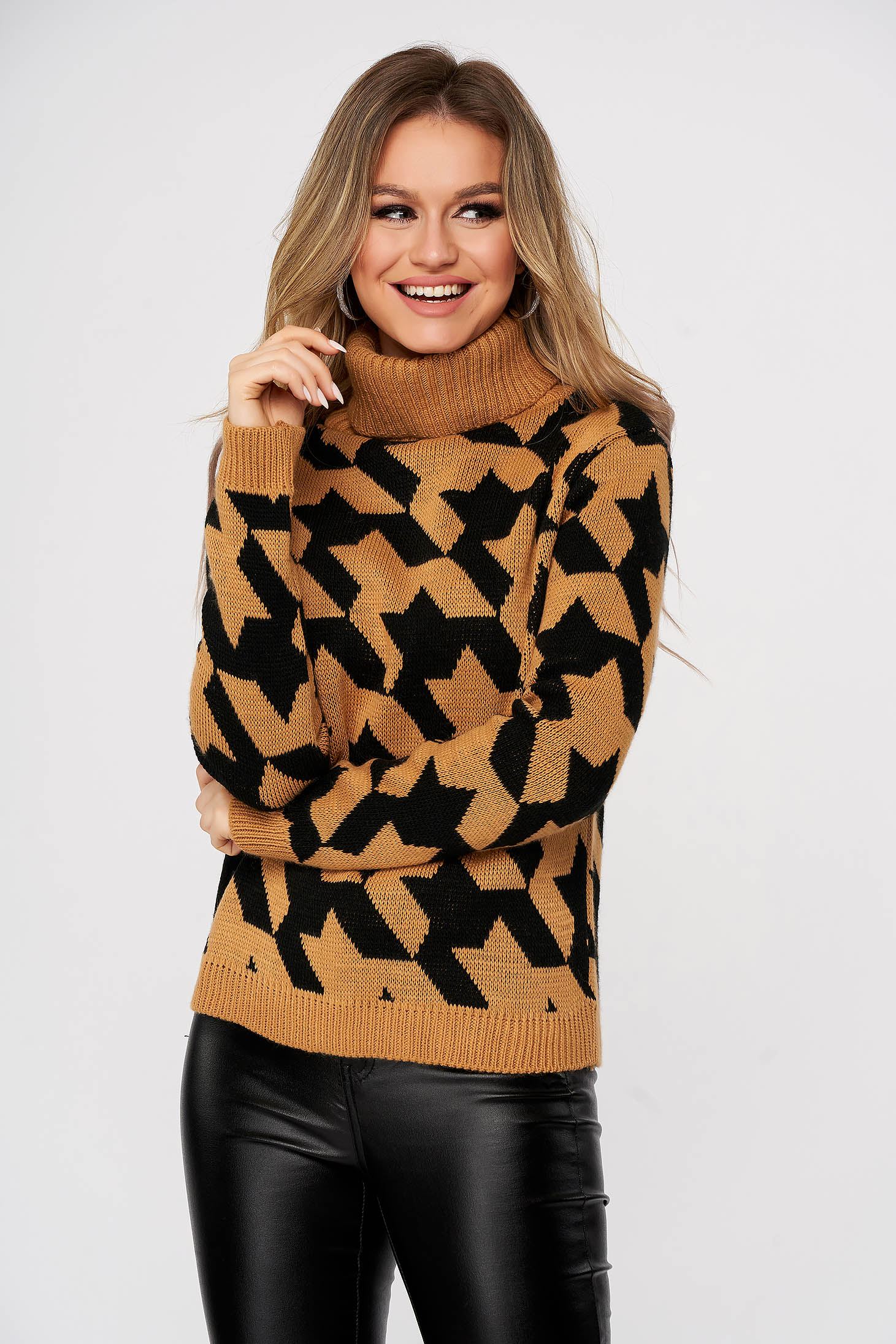 Brown sweater casual knitted flared with turtle neck with chequers