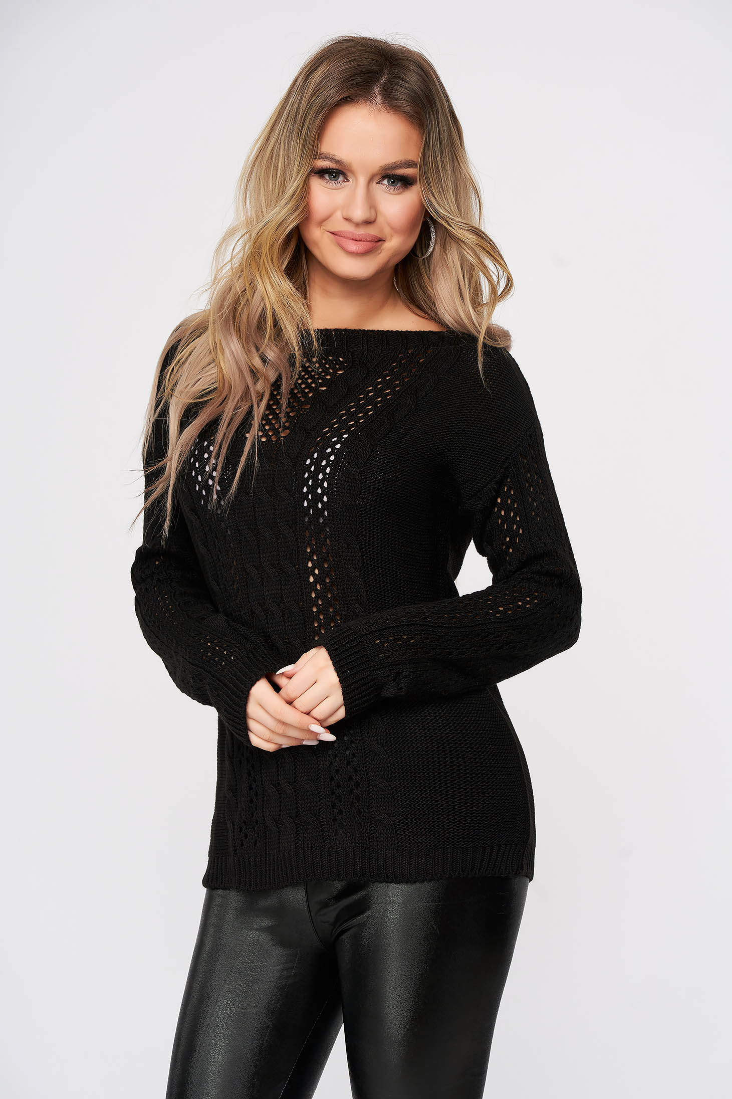 Black sweater casual flared knitted with large collar