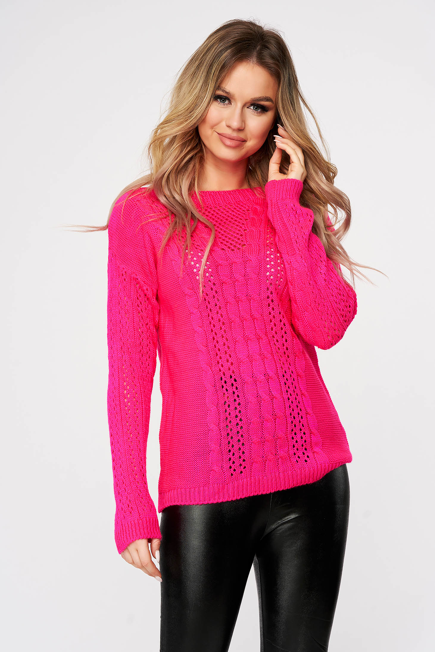 Pink sweater casual flared knitted with large collar