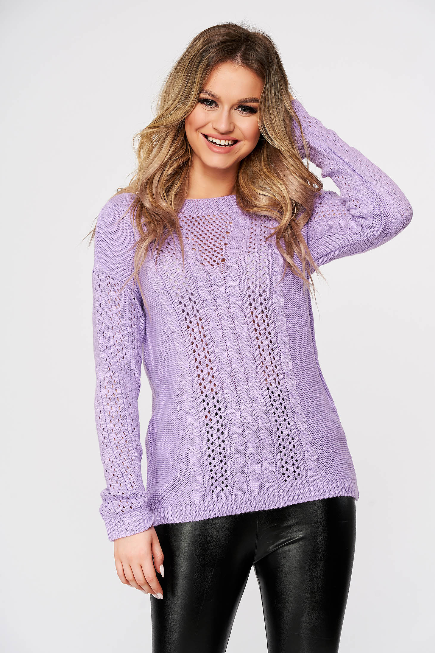 Lila sweater casual flared knitted with large collar