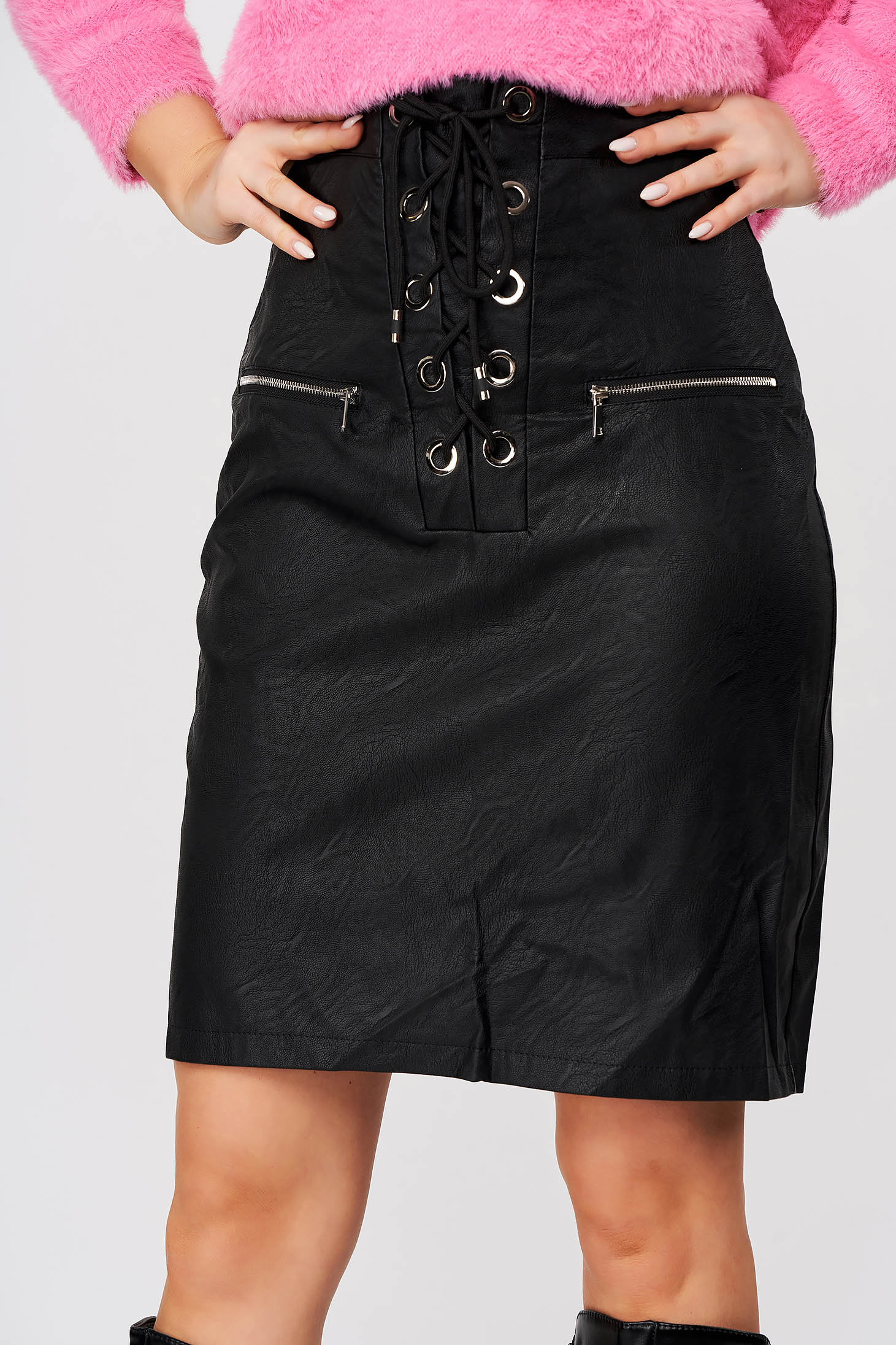 Black skirt casual short cut pencil from ecological leather ribbon fastening
