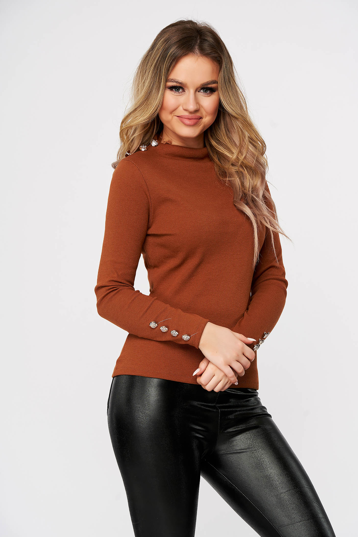 Brown women`s blouse casual tented from striped fabric with large collar